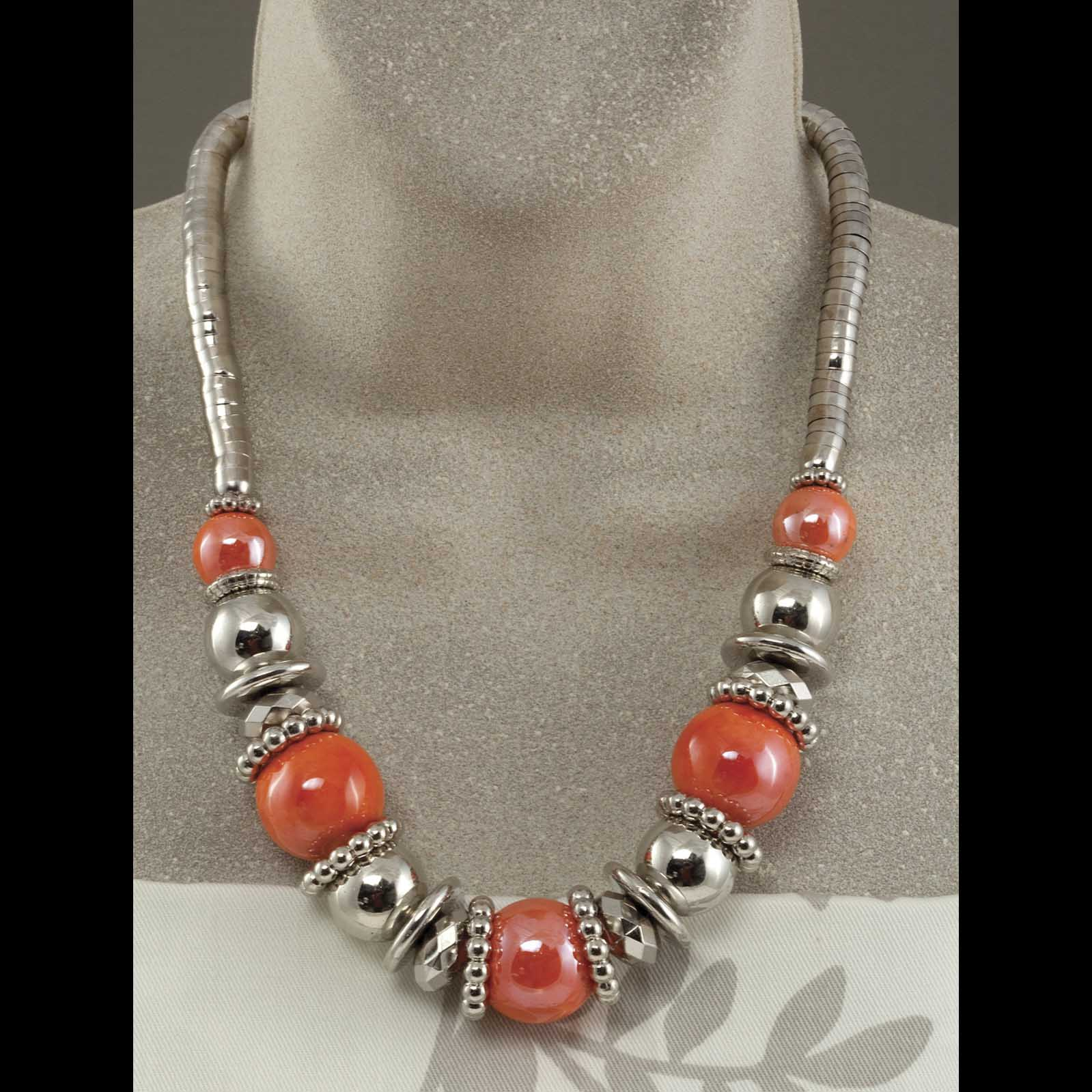 """Silver Necklace With Orange Beads 21""""-24"""""""