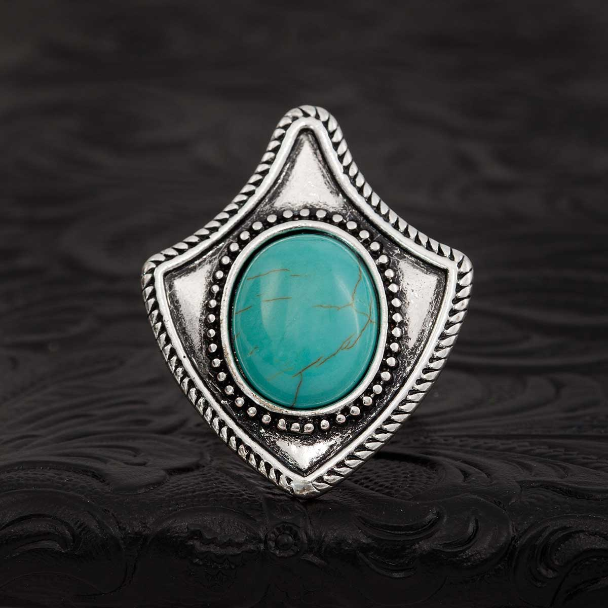 "Blue Navajo 2.25"" Arrowhead Adjustable Ring *30sp"
