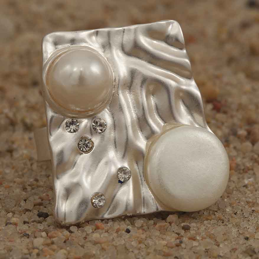 "Silver and Freshwater Pearl 1"" Square Adjustable Ring"