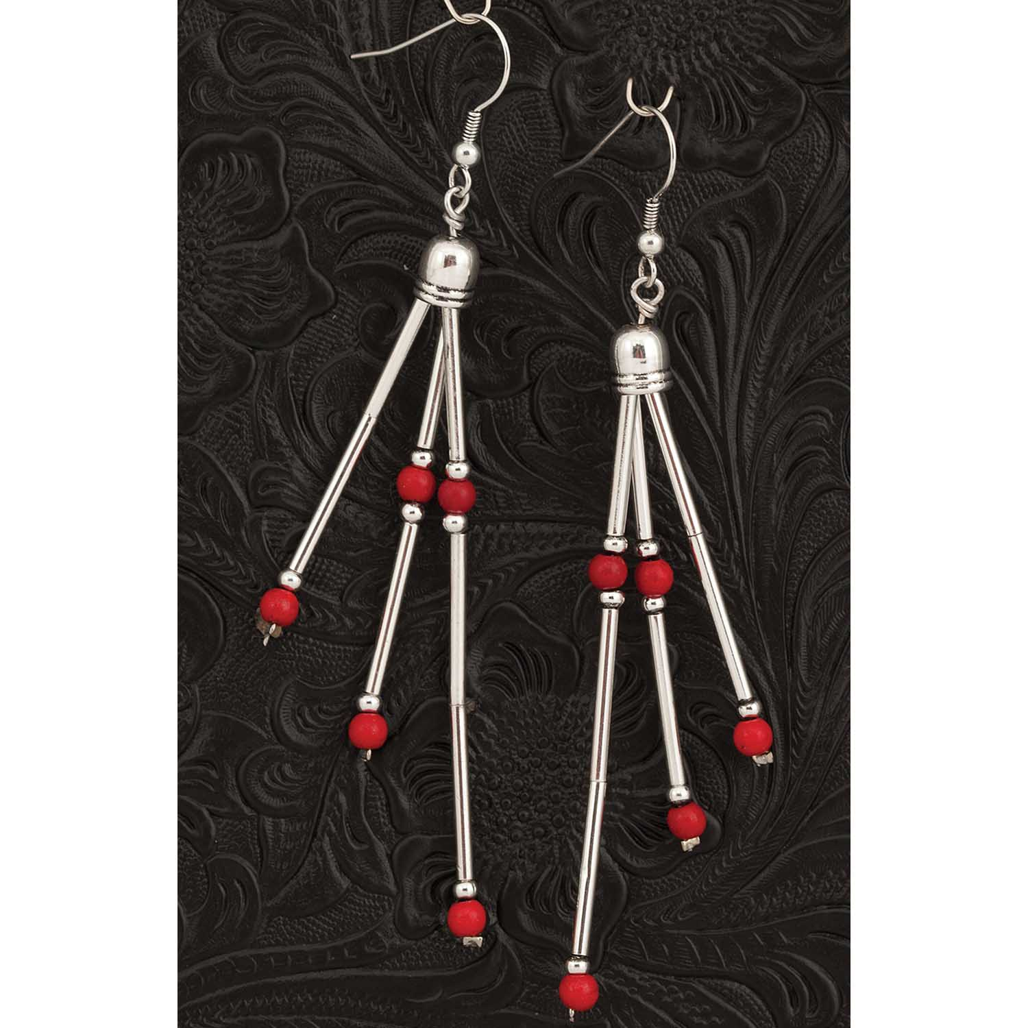 RED AND SILVERTONE 3 DANGLE FRENCH HOOK EARRINGS