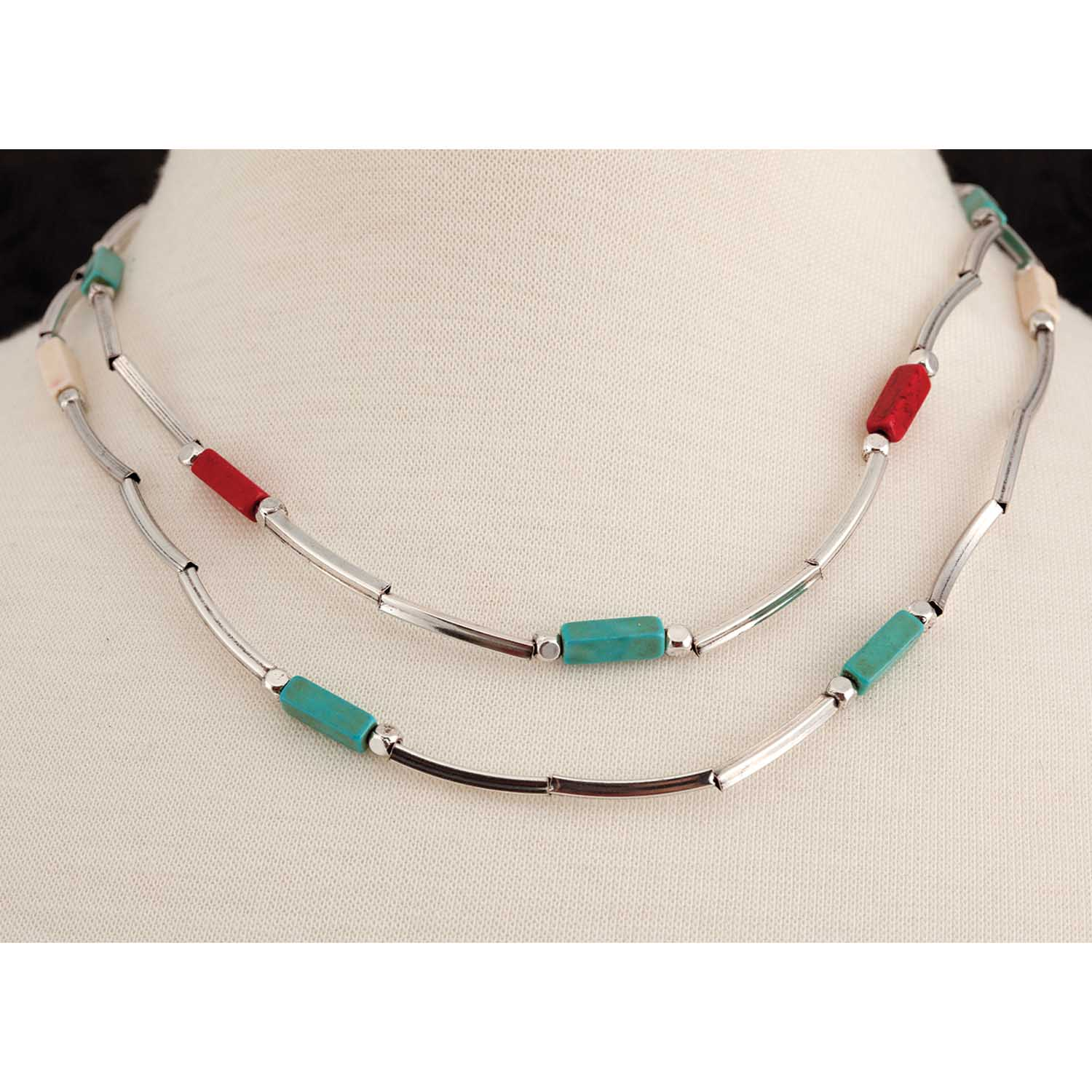 "Silver Red/White/Blue Bead Necklace 16""-19"" *30sp"