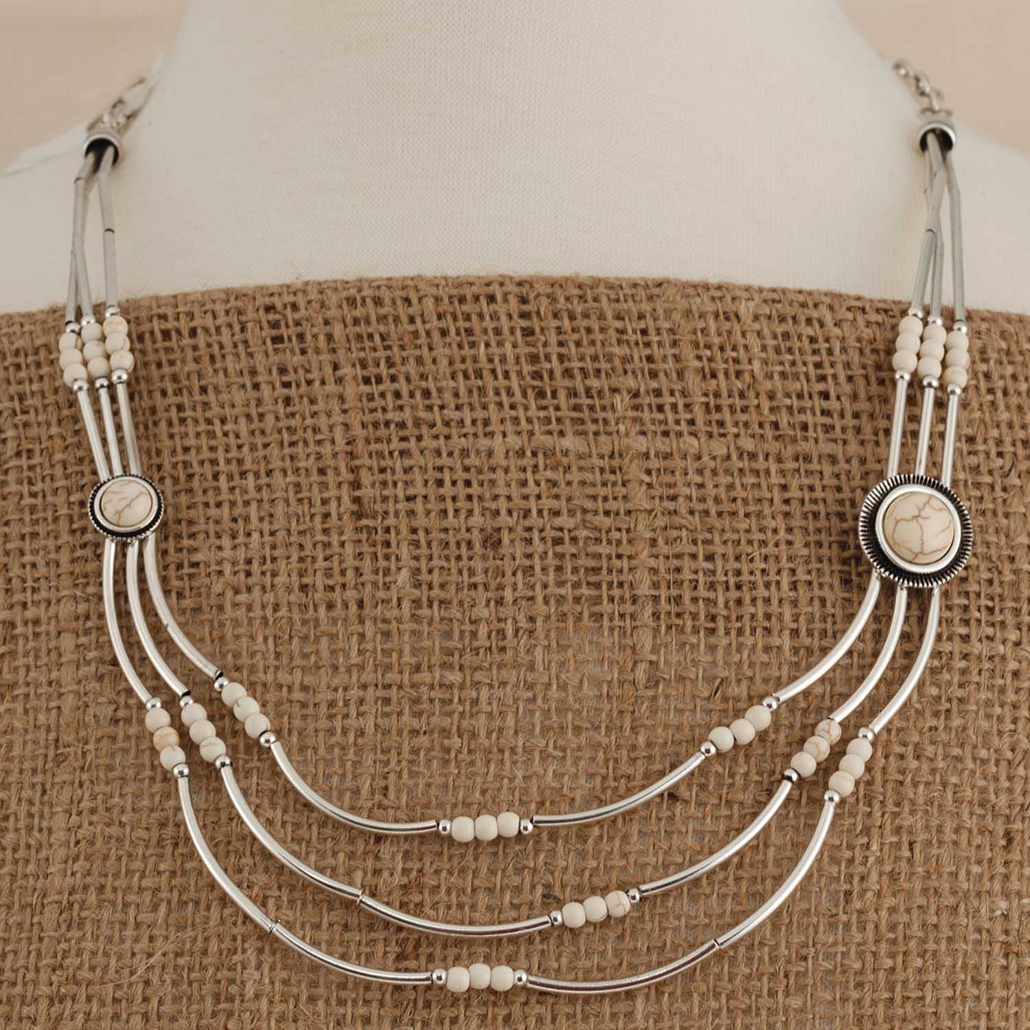 White Stone Silver Necklace 70sp - Click Image to Close