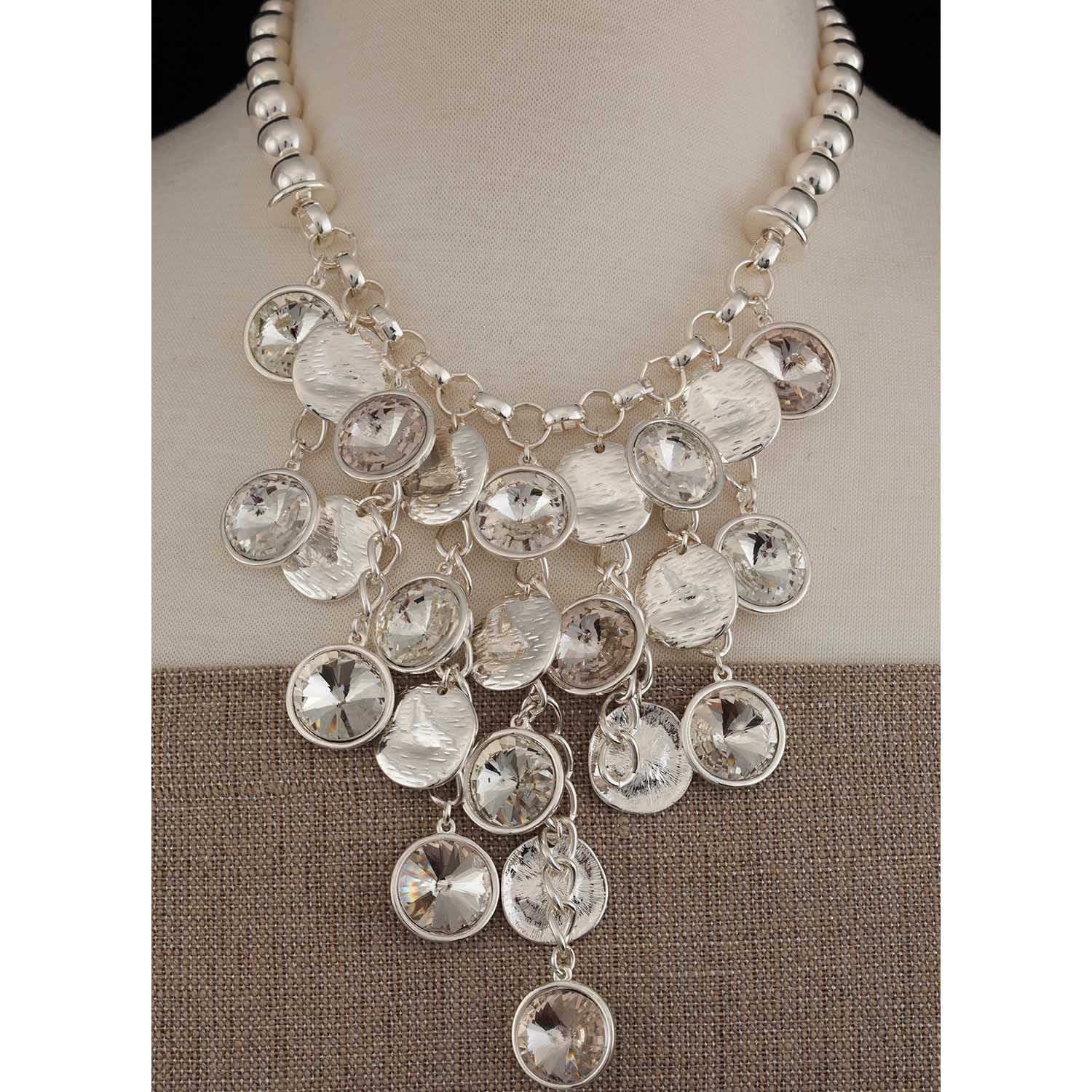 "Multi-Crystal Disc Necklace 16""-19"" *30sp"