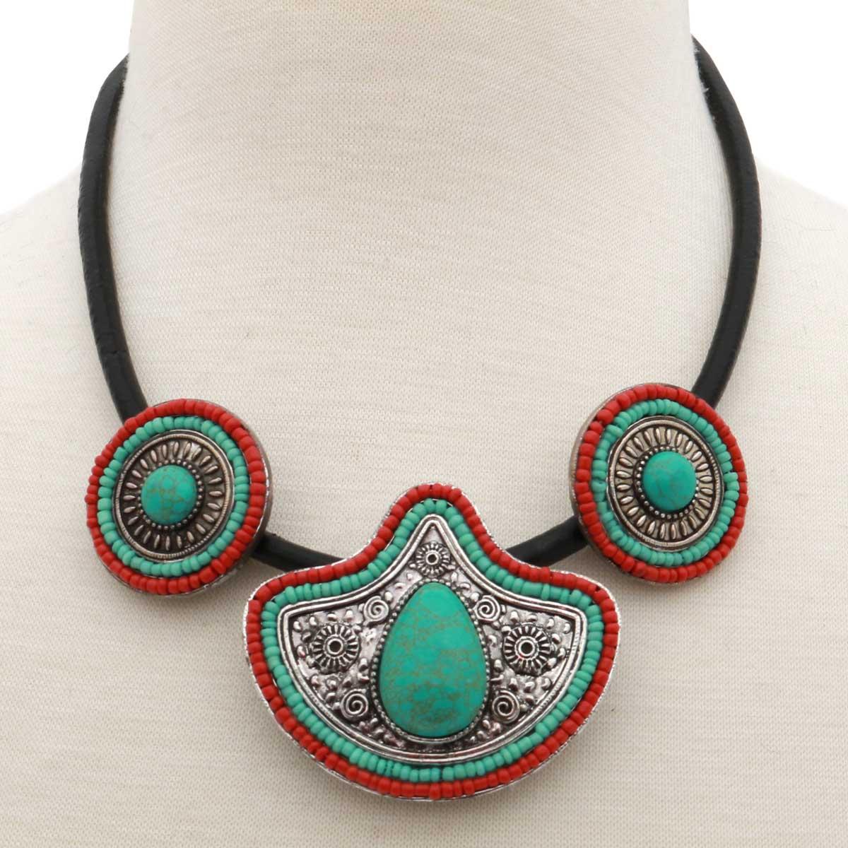 "Napali Medallion Necklace on Black Cord 18-21"" *30sp"