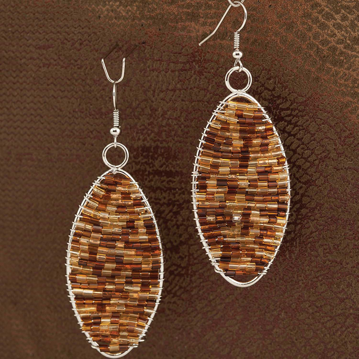 "Brown Leopard Oval 3"" French Wire Earrings *30sp"