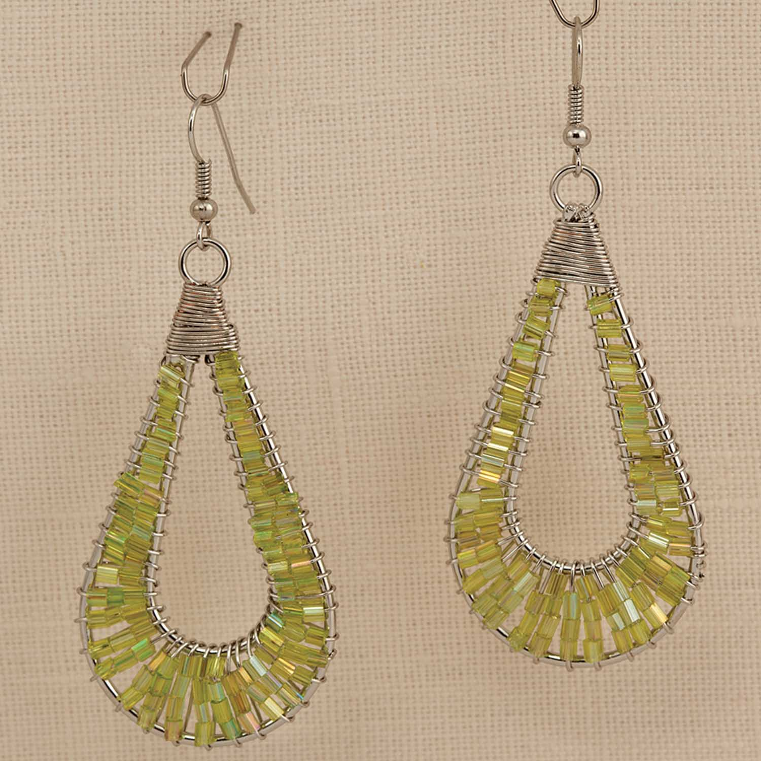 "Tear Drop Green Bead French Wire Earrings 2.75"" *30sp"