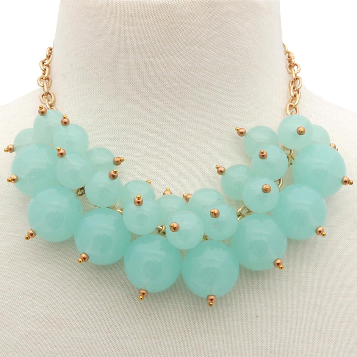 "Green Bauble Pearl Necklace 18""-21"" *30sp"