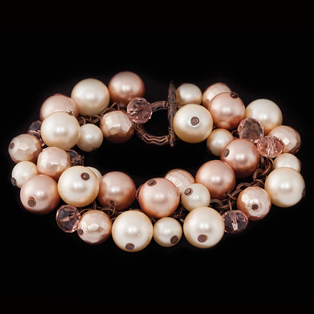 COPPERTONE/PEARLIZED BEADS/ROSE COLORS BRACELET WITH TOGGLE