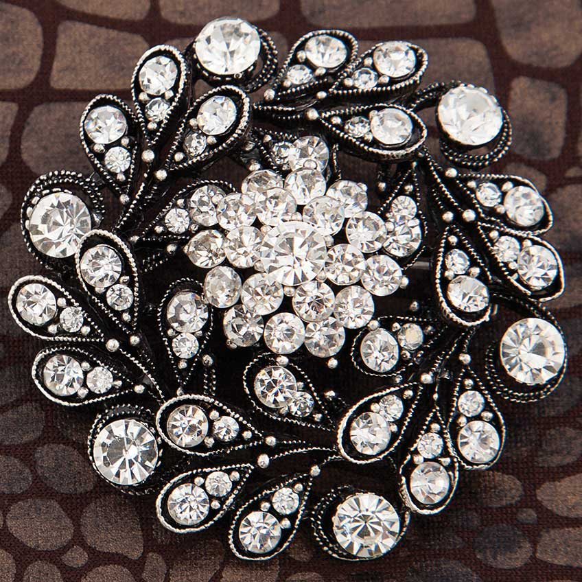 "Silver Flower Hat/Shawl Pin with Crystals 2"" *30sp"