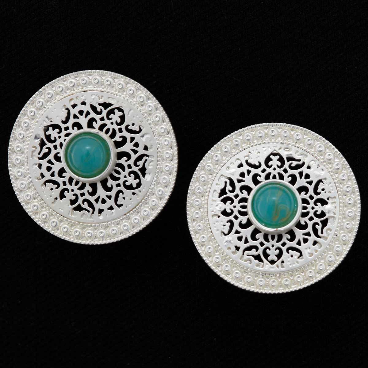 "Platinum 1.25"" Round Earrings with Green Stone *30sp"