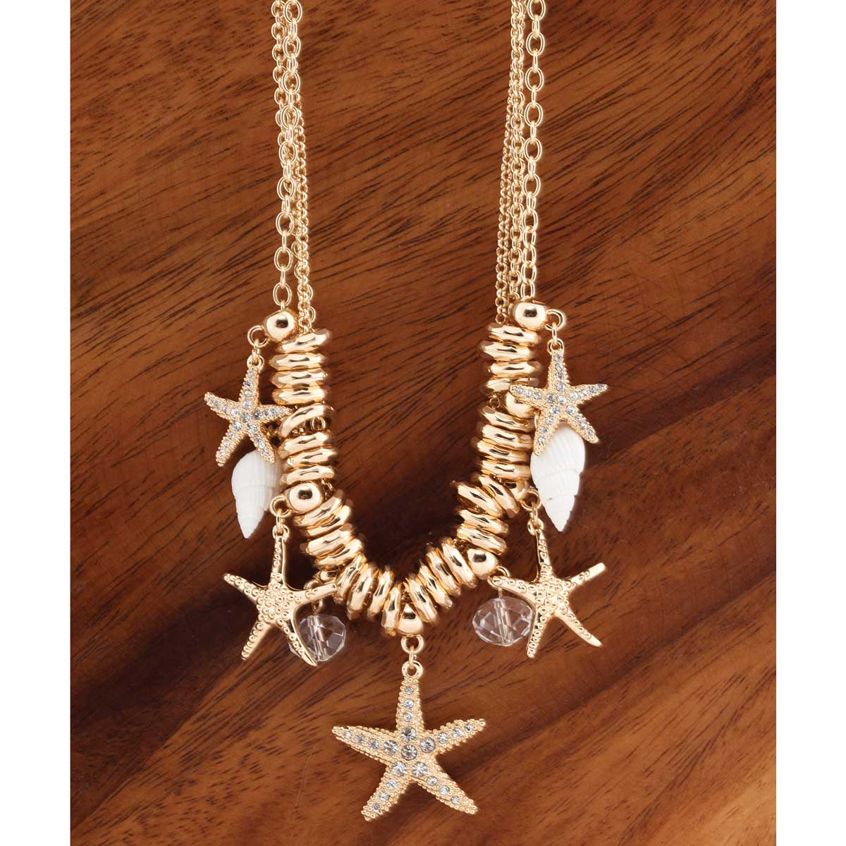 "Gold Starfish Necklace 16""-19"" with Shells *30sp"