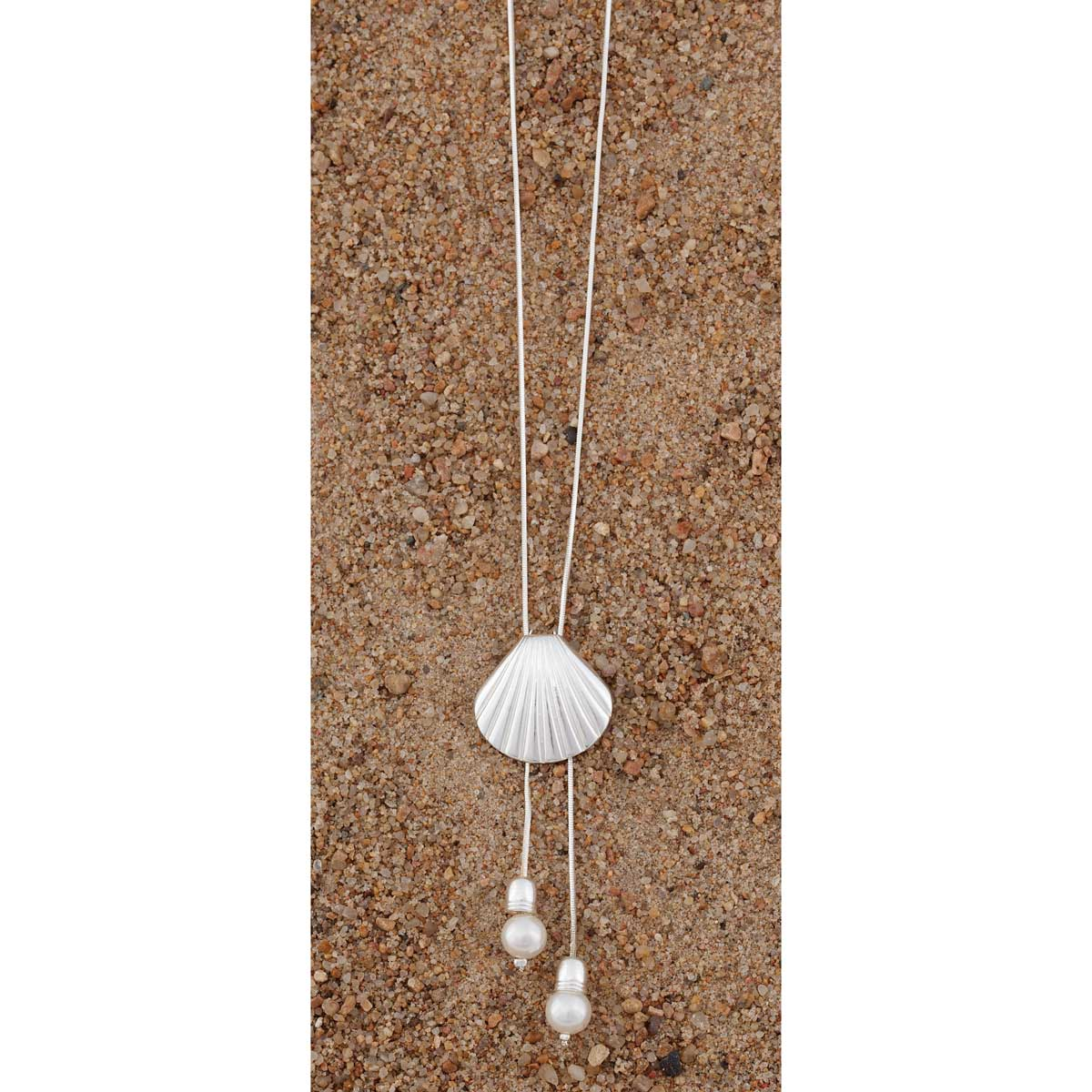 """Antique Silver Seashell Necklace 18"""" with Pearls 70sp"""