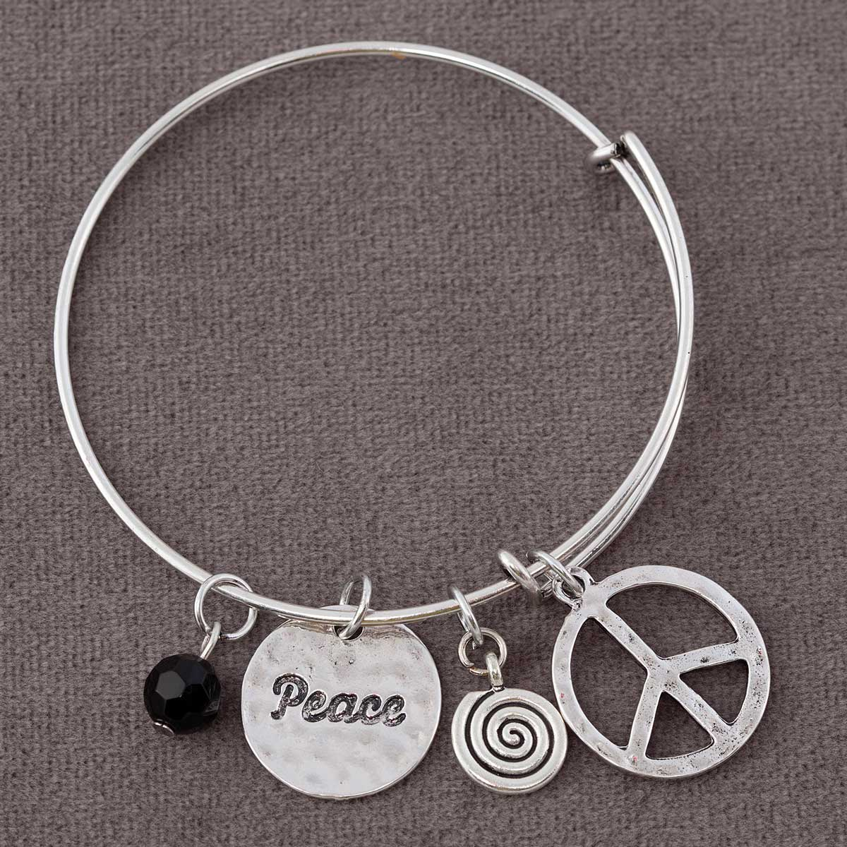 "Silver Peace Sign Charm Bracelet 7""-8"" *30sp"