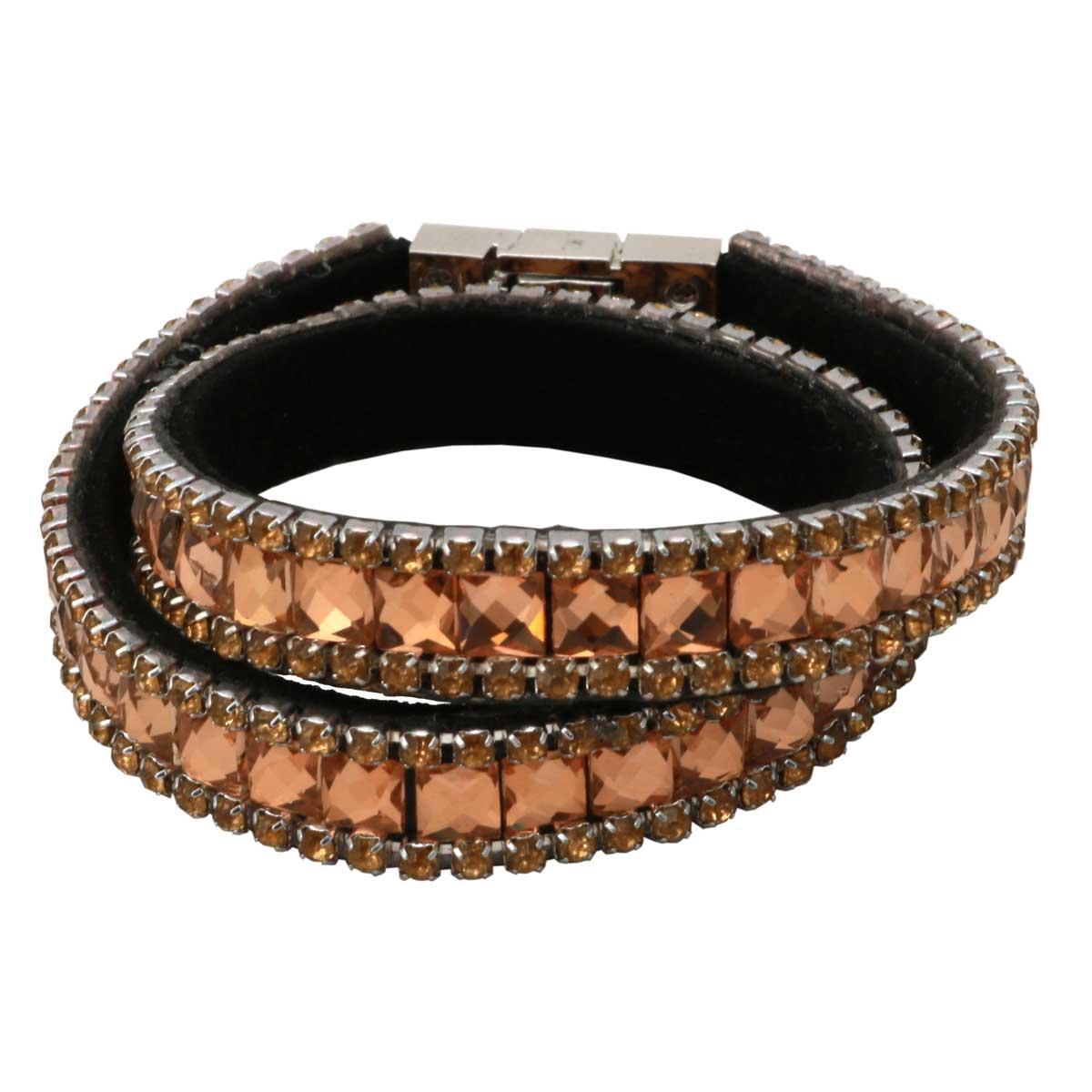 "Bronze Crystal Strap Wrap Bracelet 14.75""x.5"" *30sp"