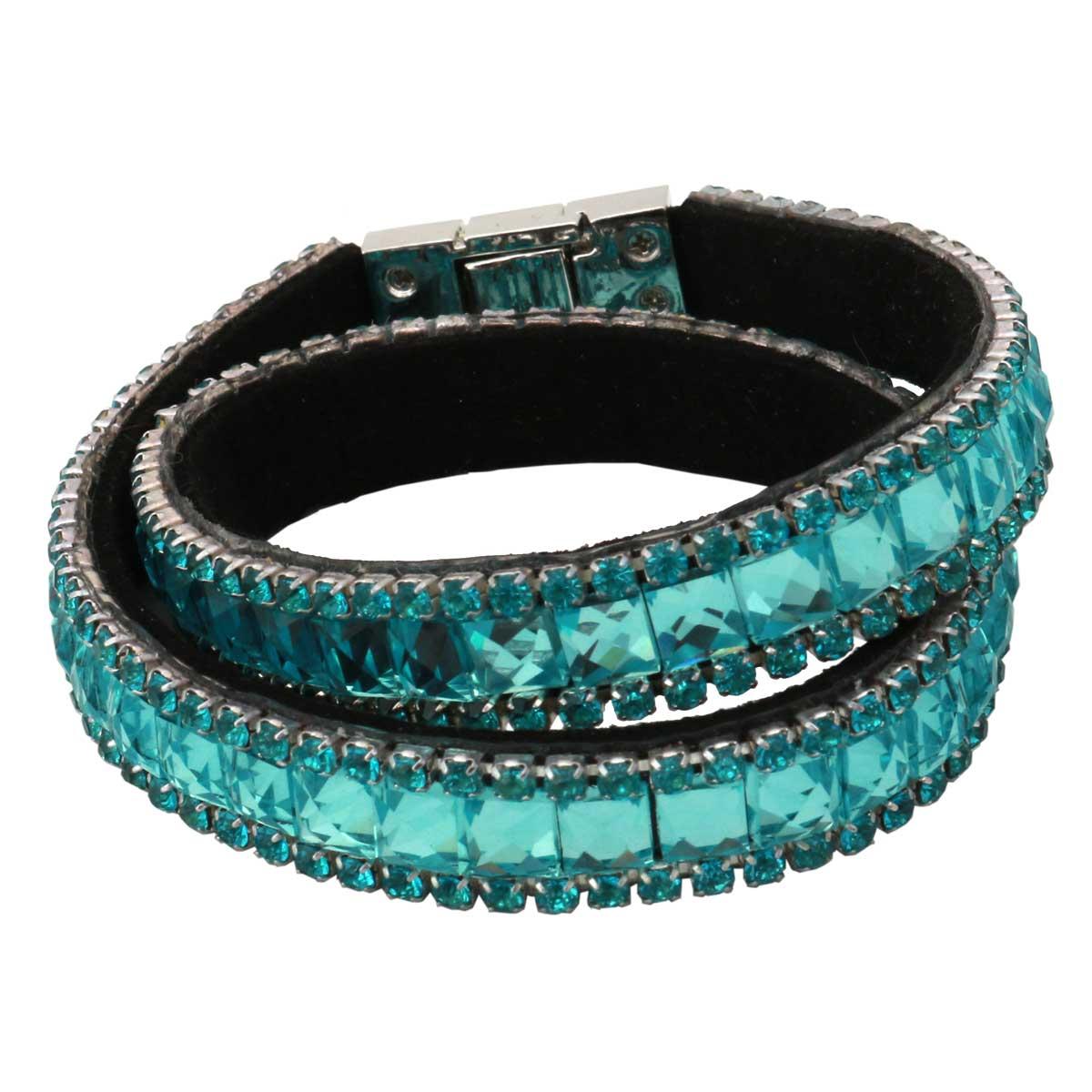 """Teal Crystal Strap Wrap Bracelet 14.75""""x.5"""" 70sp"""