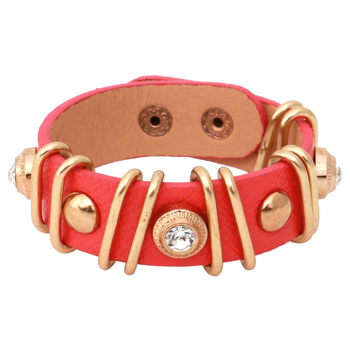 """Coral Snap Bracelet 7""""-8.5""""x.75"""" Gold and Crystal Accents *30sp"""