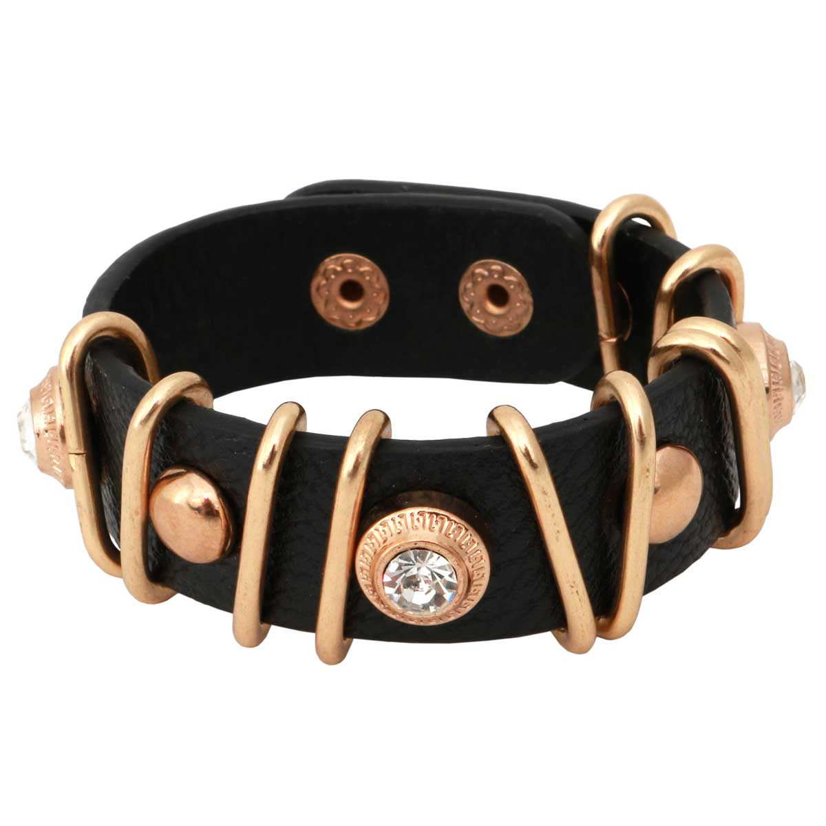 """Black Snap Bracelet 7""""-8.5""""x.75"""" Gold and Crystal Accents *30sp"""