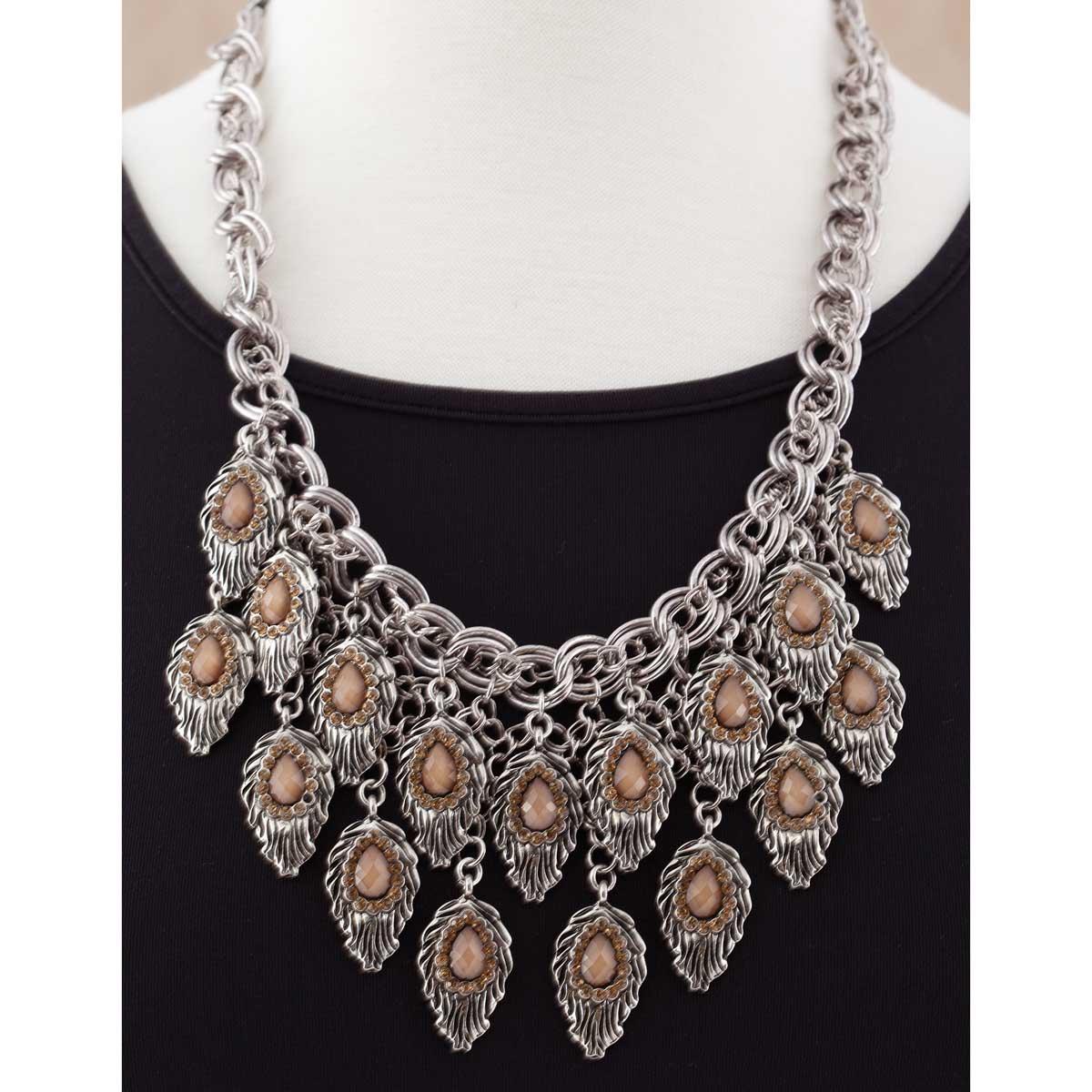 Antique Silver Multi Leaf Necklace *30sp