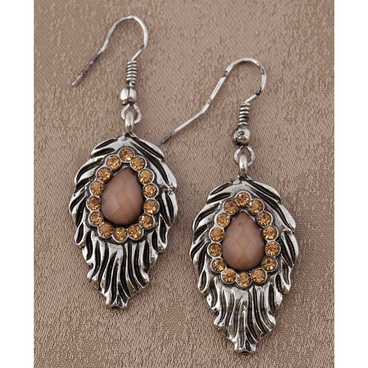 """Antique Silver 1.75"""" Leaf and Amber Stone Earrings *30sp"""