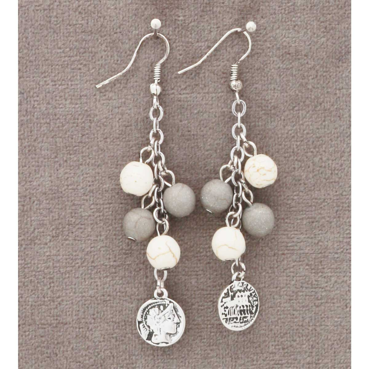 """Antique Silver 2.75"""" Coins Earrings *30sp"""