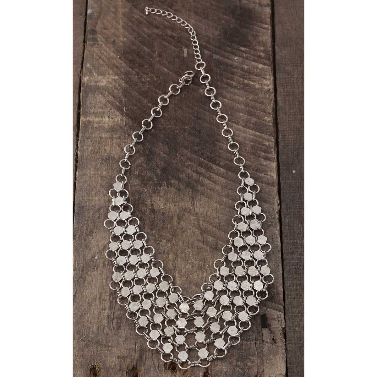 """Antique Silver Mesh Necklace 18""""-21"""" *30sp"""