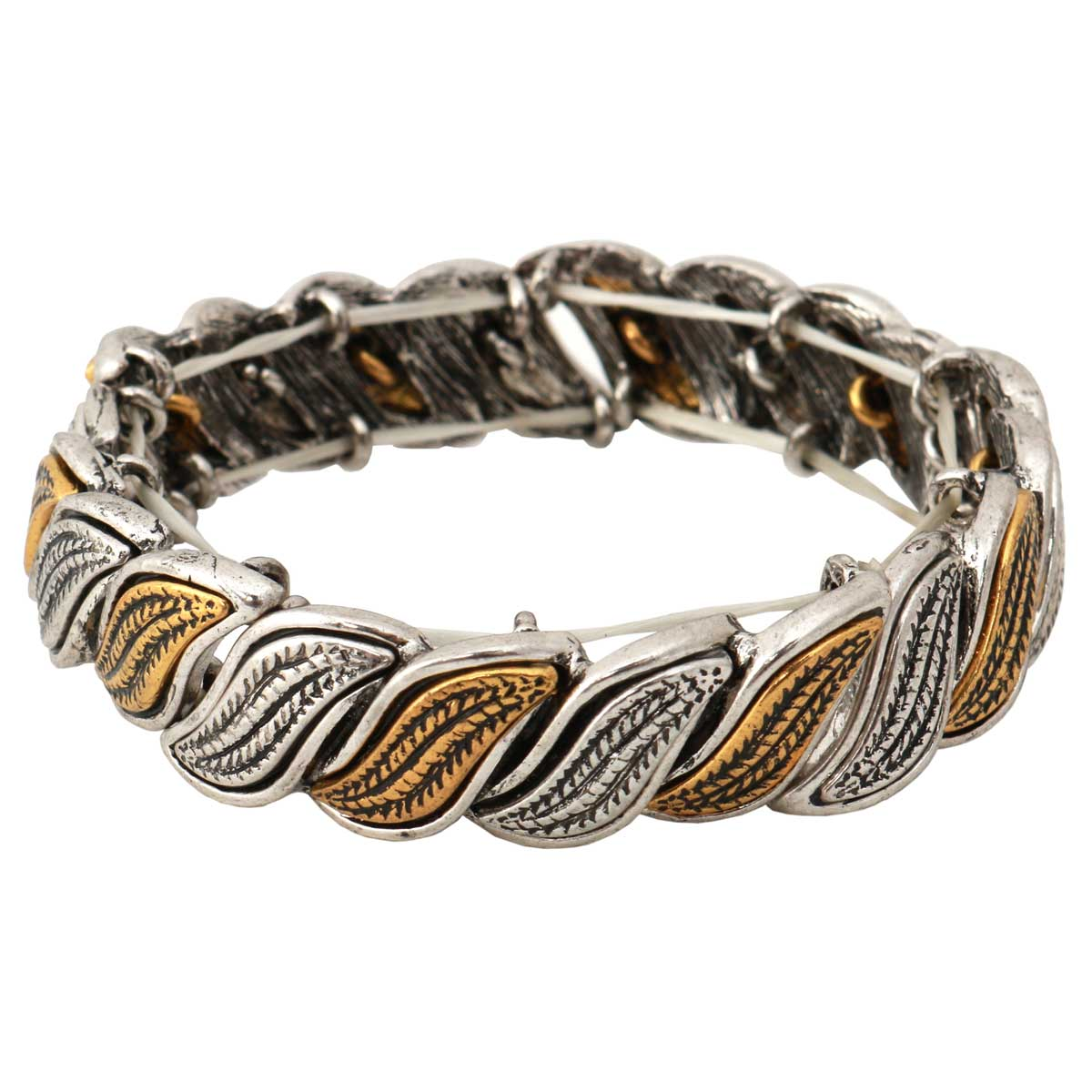 "Silver and Gold Swirl Stretch Bracelet 7""-8""x.62"" *30sp"
