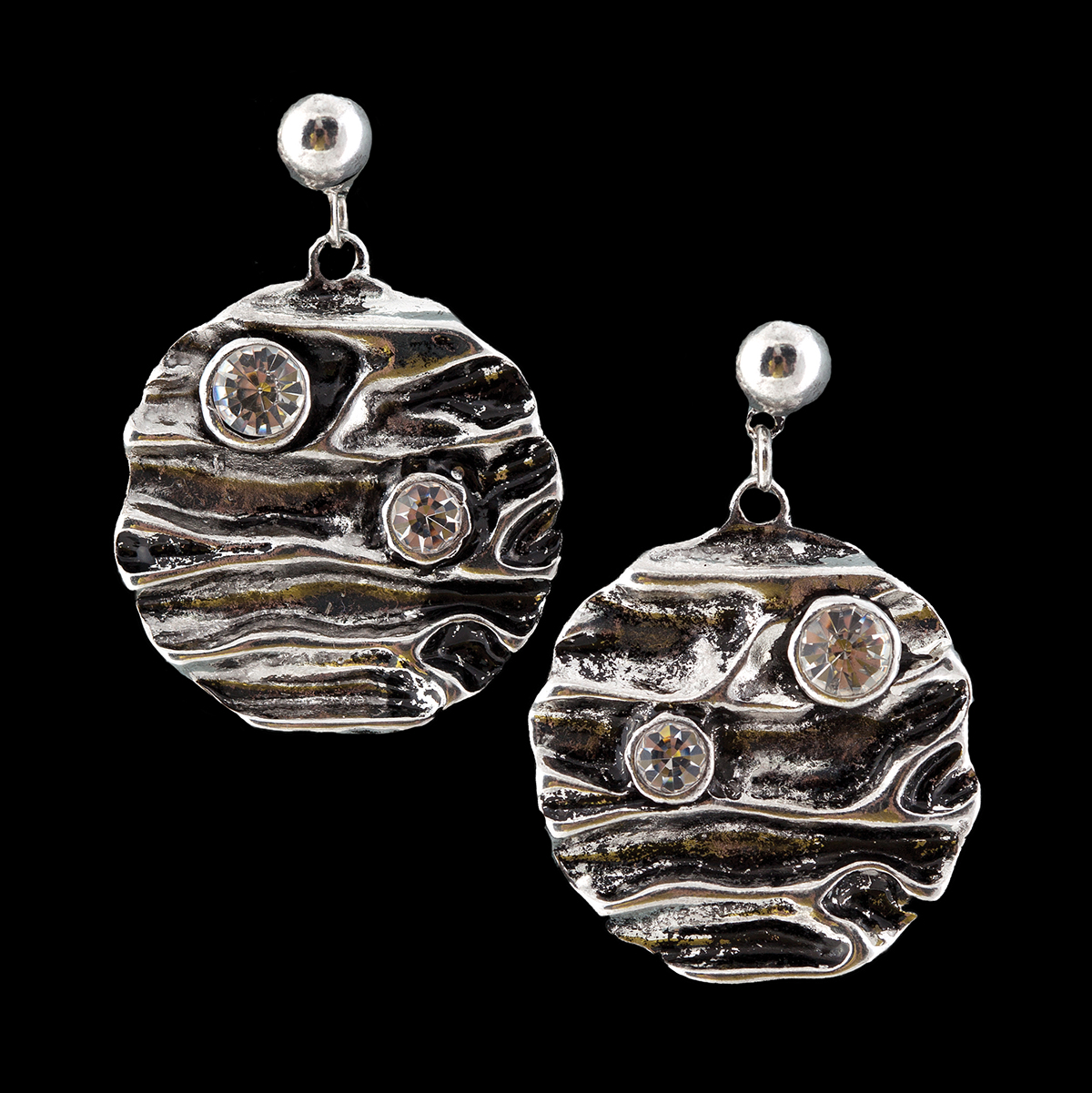 """Silver 1"""" Disc Earrings with Crystals *30sp"""