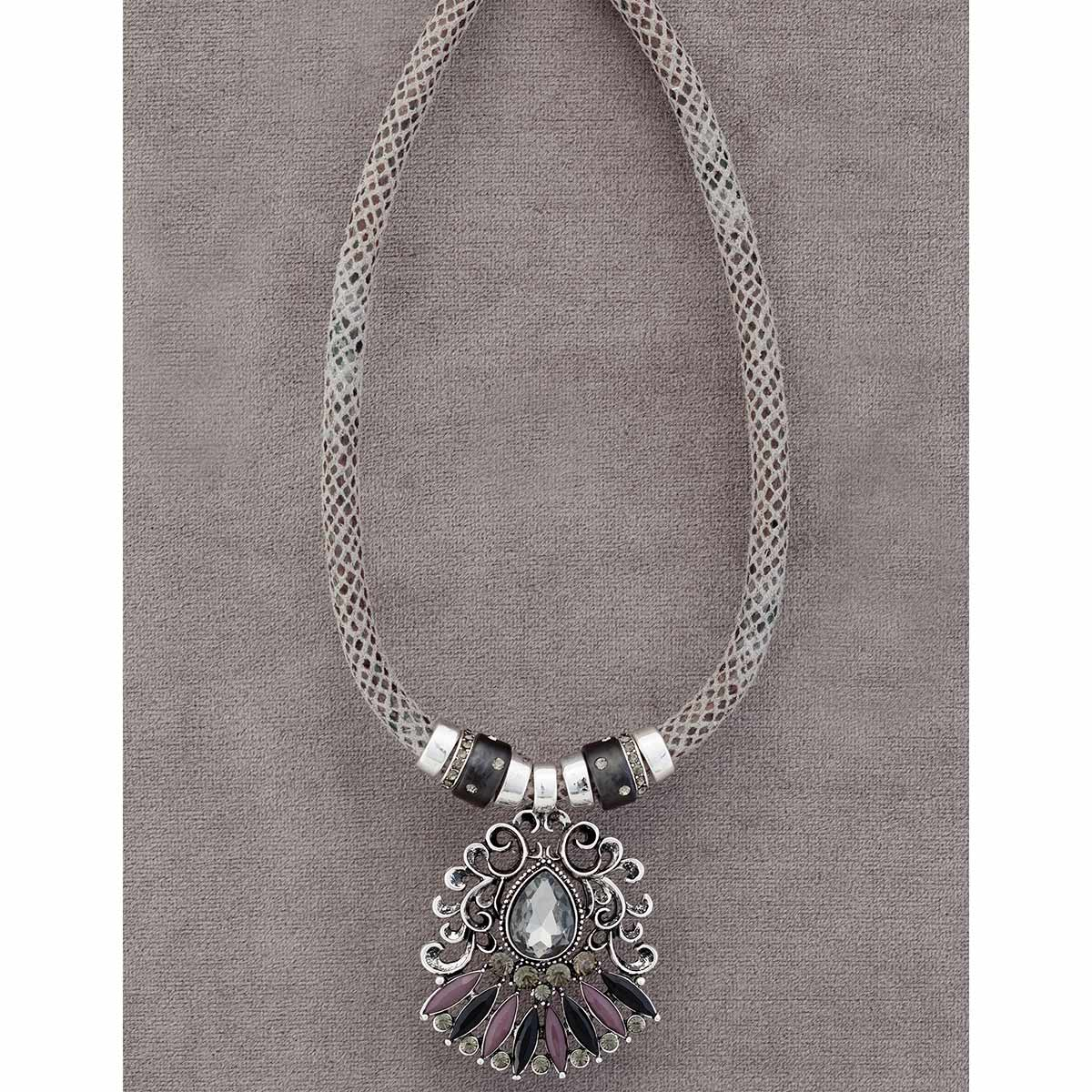 "Gray Python Cord Necklace 17""-20"" with 2.25"" Crystal 70sp"