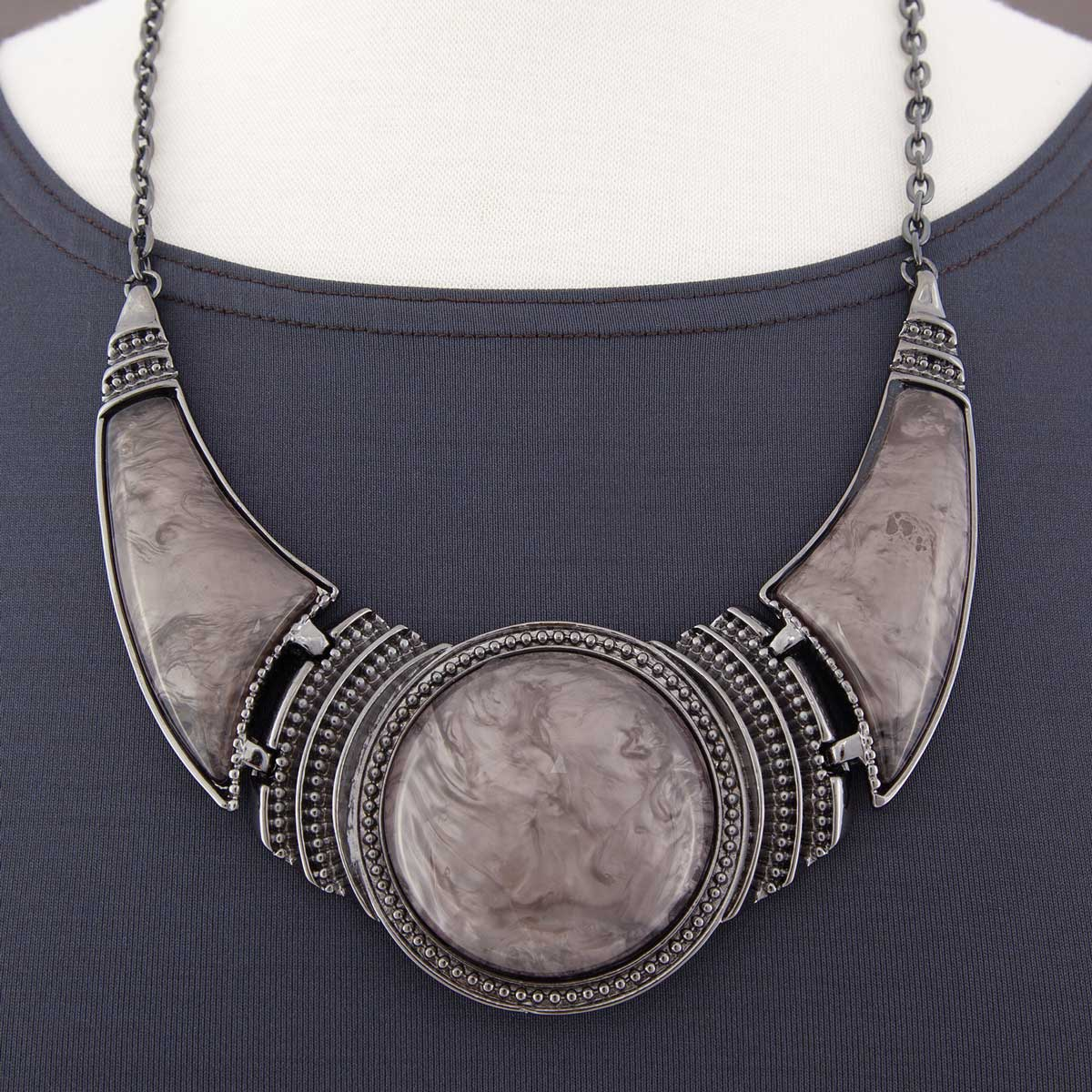 "Pewter Collar Necklace 18""-21"" with 2.25"" Gray Swirl Stone 70sp"