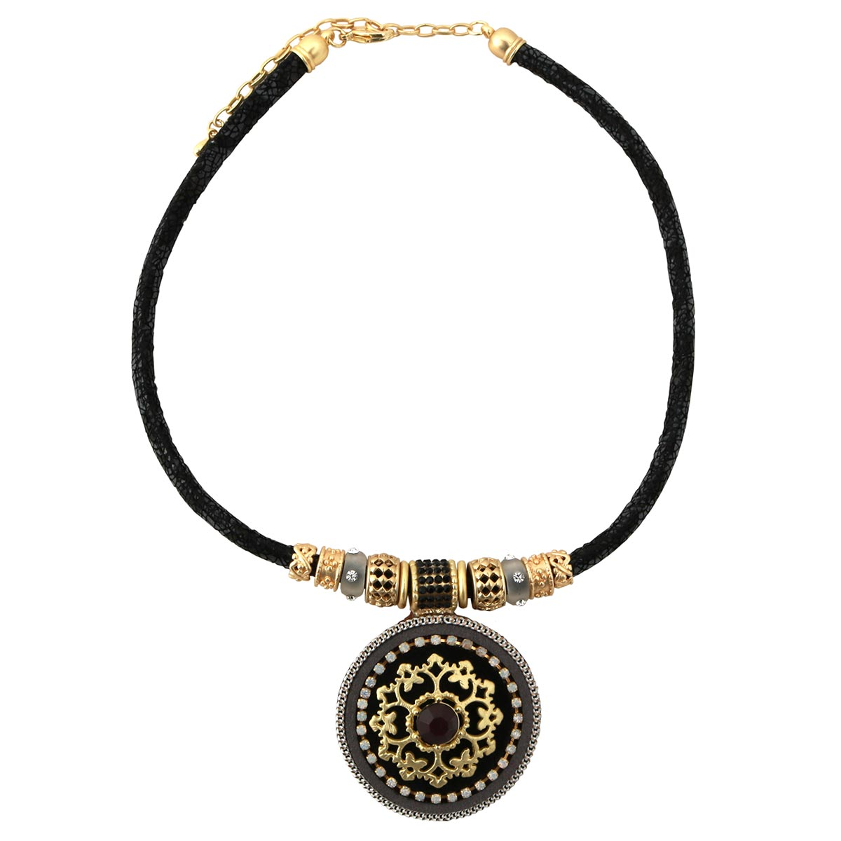 "Black Python Cord Necklace 17""-20"" with 2"" Gold Medallion 30sp"