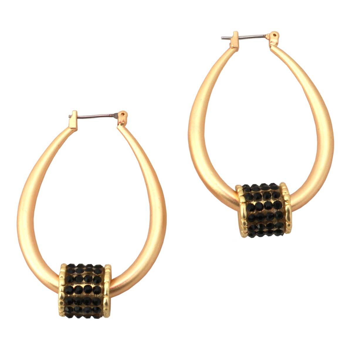 "Brushed Gold 1.75"" Hoop Earrings with Black Barrel Bead"
