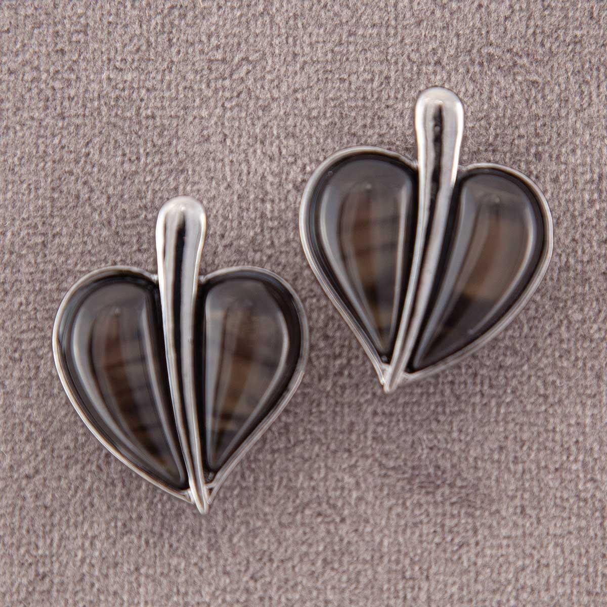 "Gunmetal 1.25"" Heart Earrings with Black Stones *30sp"