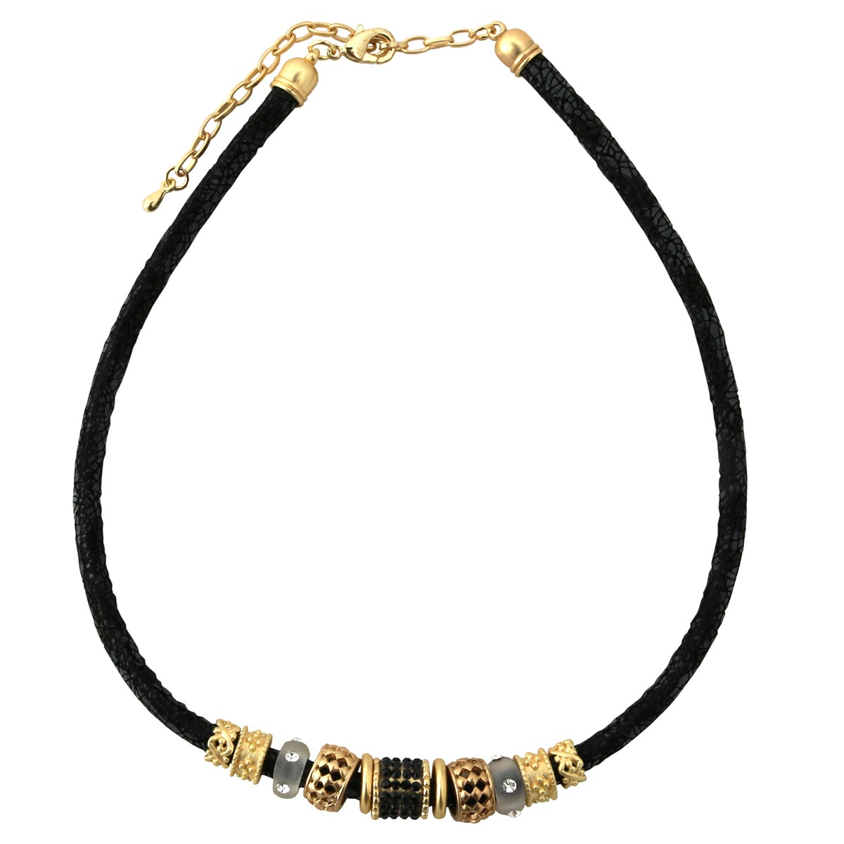 "Black Python Cord Necklace 17""-20"" with Gold and Gray Beads 30sp"