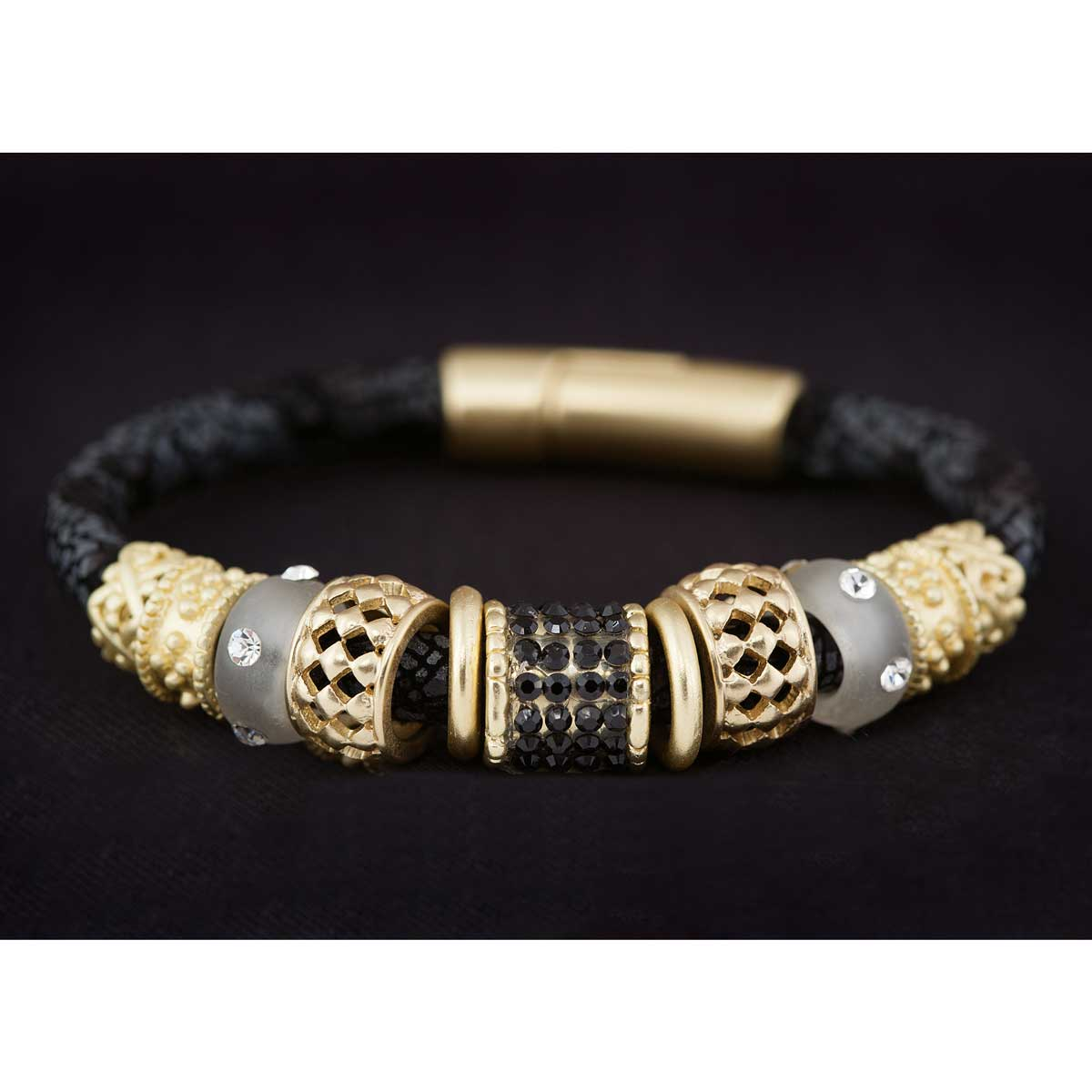 "Black Python Cord Bracelet 8"" with Gold and Gray Beads 30sp"