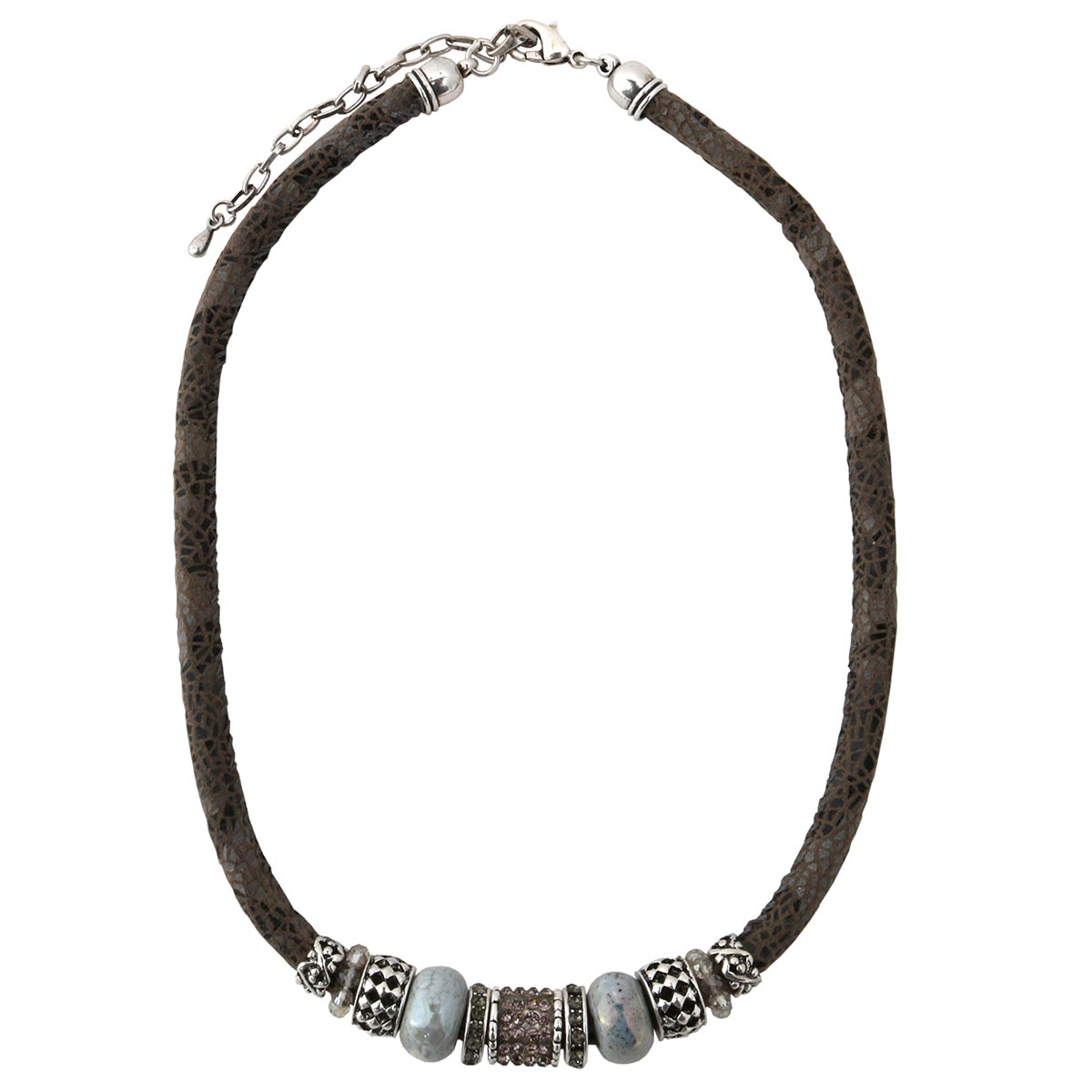 "Gray Python Cord Necklace 17""-20"" with Gray Beads 70sp"
