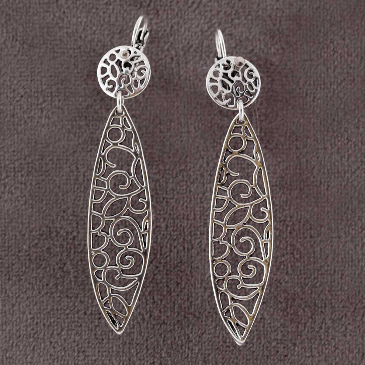 """Silver 2.75"""" Oval Filigree Earrings *30sp"""