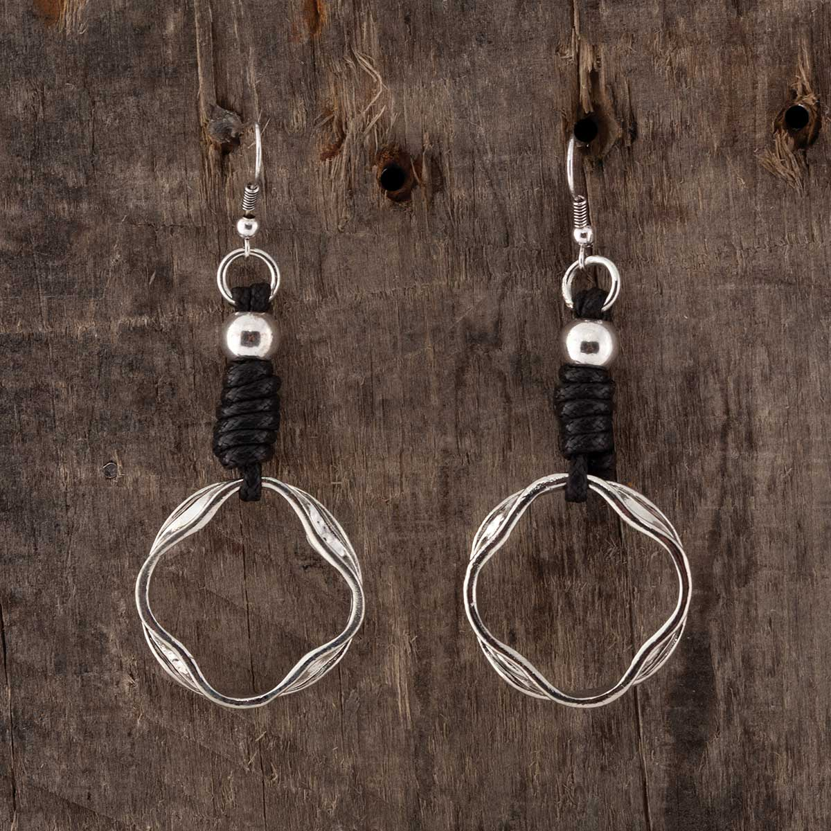 "SILVER RING 1.75"" FRENCH WIRE EARRINGS WITH BLACK CORD"