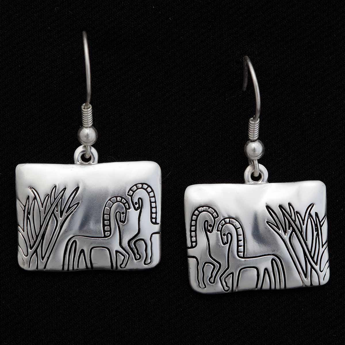 """SILVER ETCHED 1.5"""" ARABIAN HORSE FRENCH WIRE EARRINGS"""