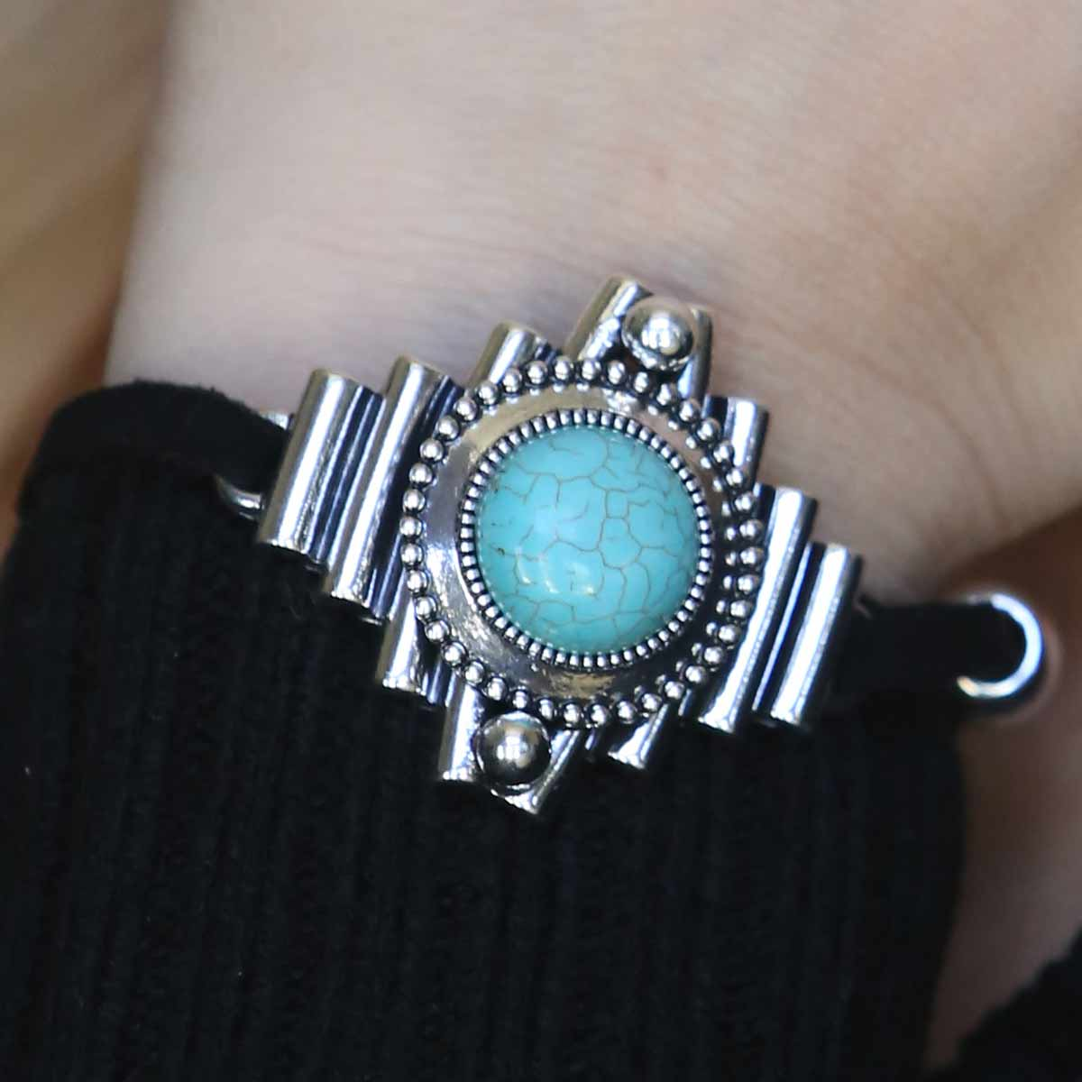"SILVER AND TURQUOISE 1.5"" BRACELET 7""-8.5"" ON BLACK CORD 30sp"