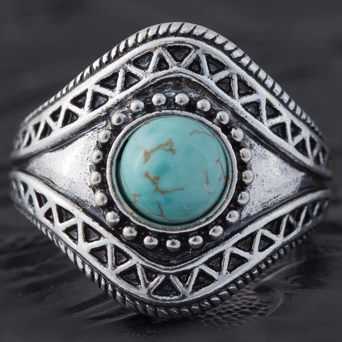 SILVER AND TURQUOISE RING SIZE 8