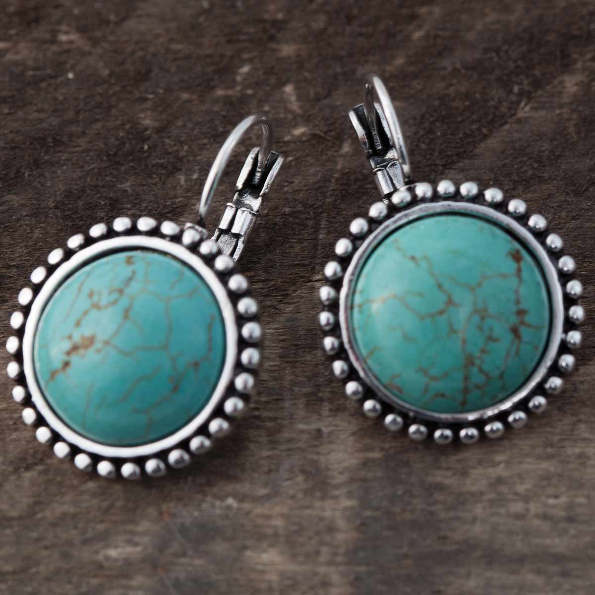 "SILVER AND TURQUOISE 1.25"" LEVER BACK EARRINGS"