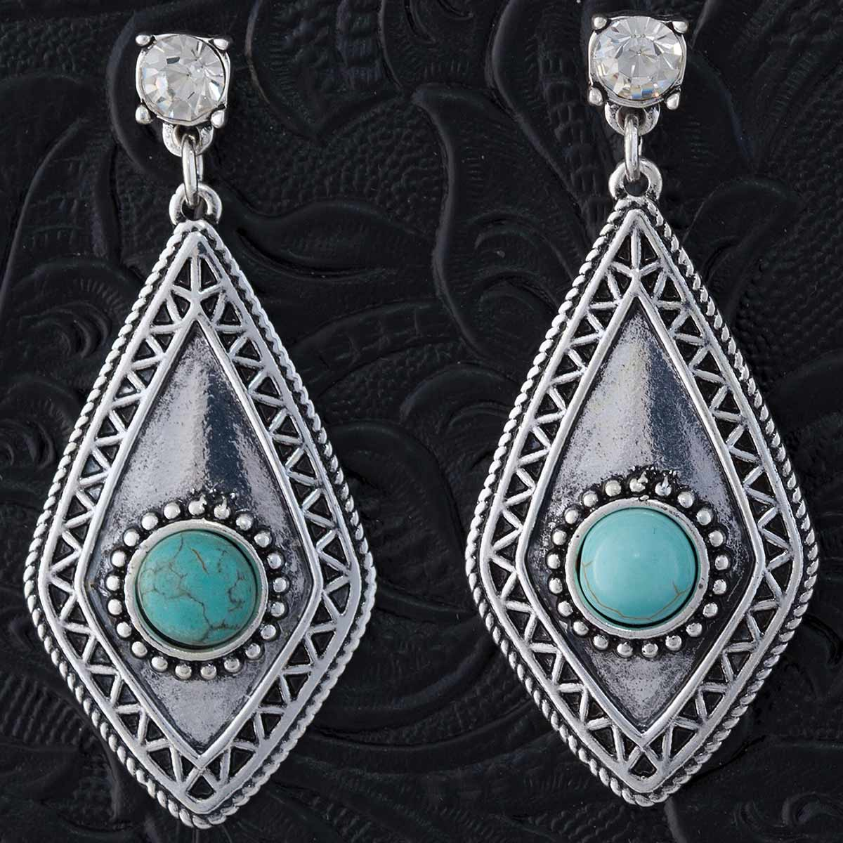 "SILVER AND TURQUOISE 1.9"" POST EARRINGS"