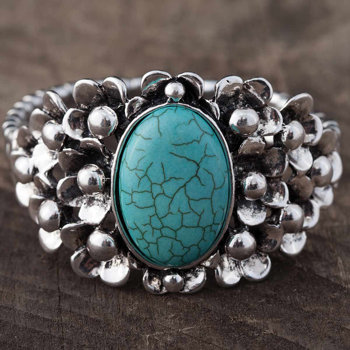 """SILVER AND 1.75"""" OVAL TURQUOISE STRETCH BRACELET 7""""-8"""""""