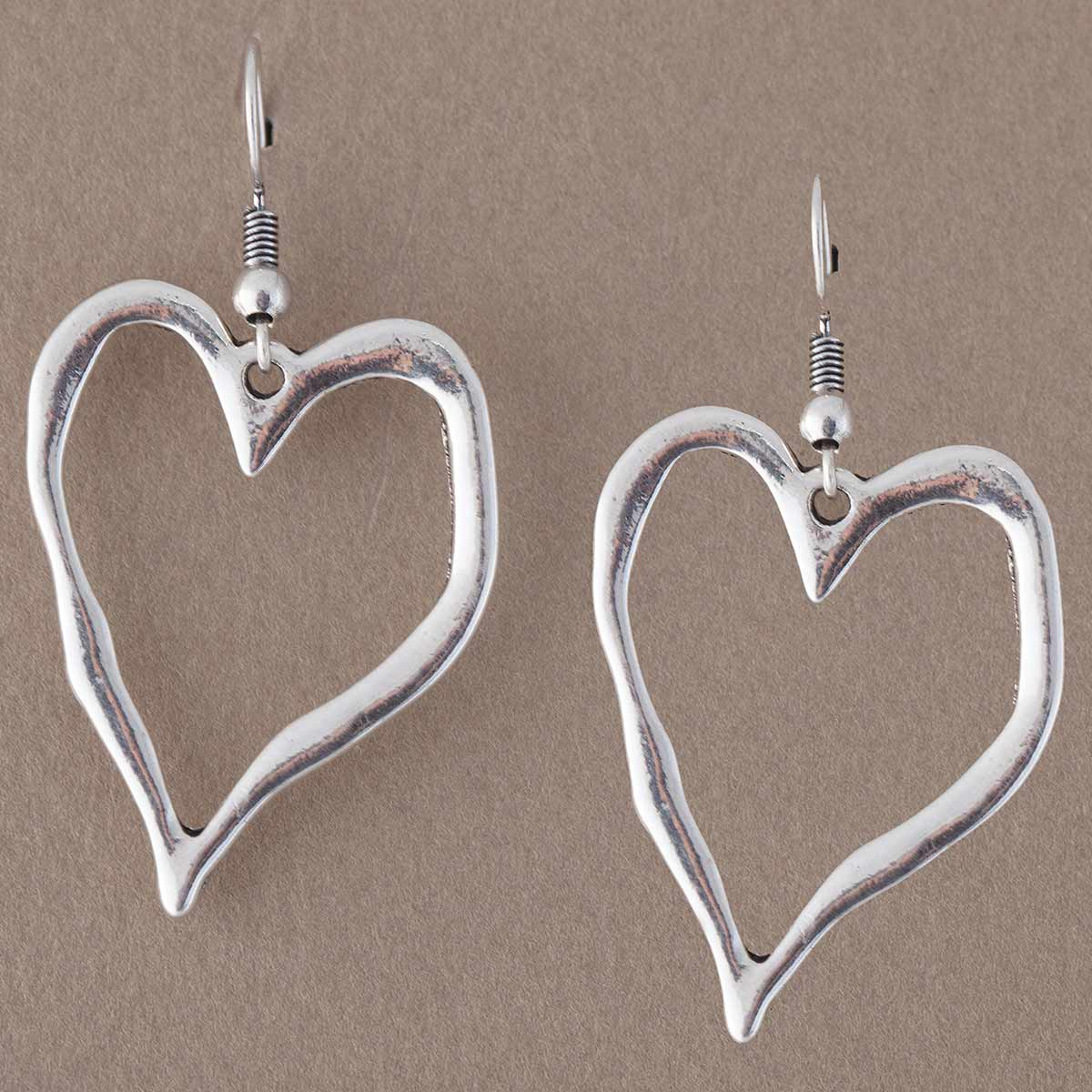"SILVER 2""X1"" HEART WIRE EARRINGS"