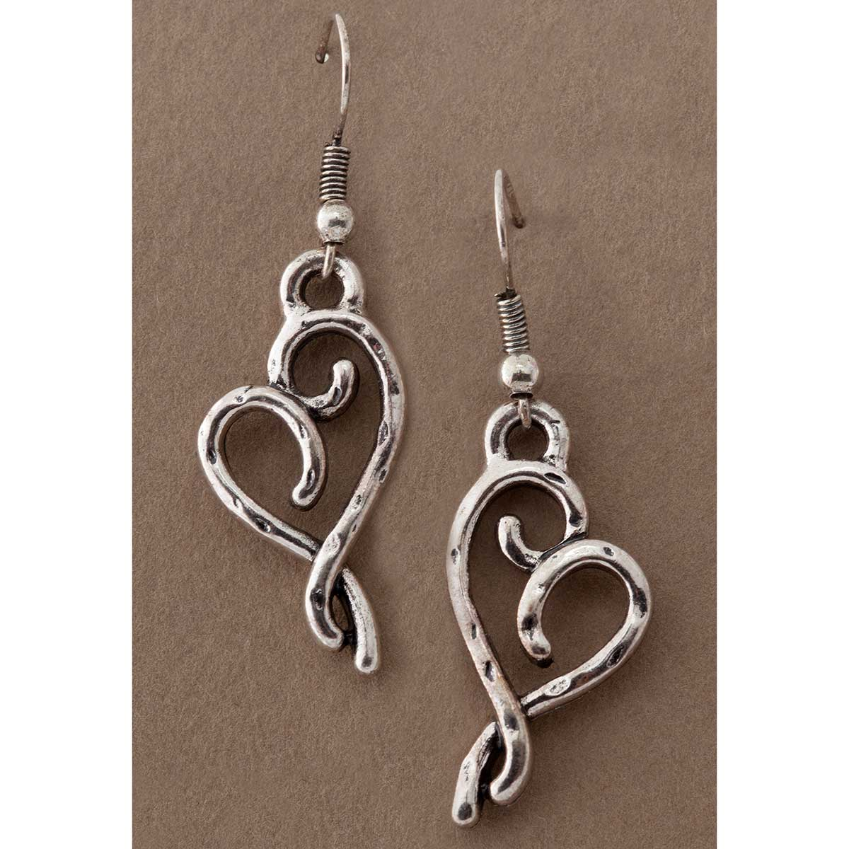 "SILVER 1.75X.5"" HEART WIRE EARRING"