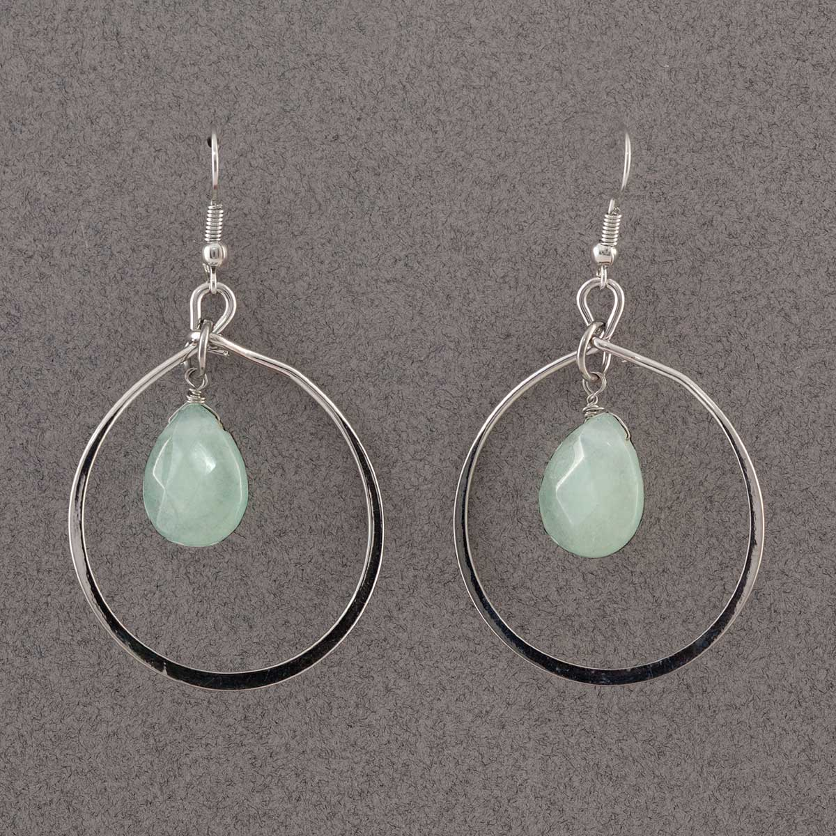 "Silver 1.5"" Ring with Aqua Bead French Wire Earrings"