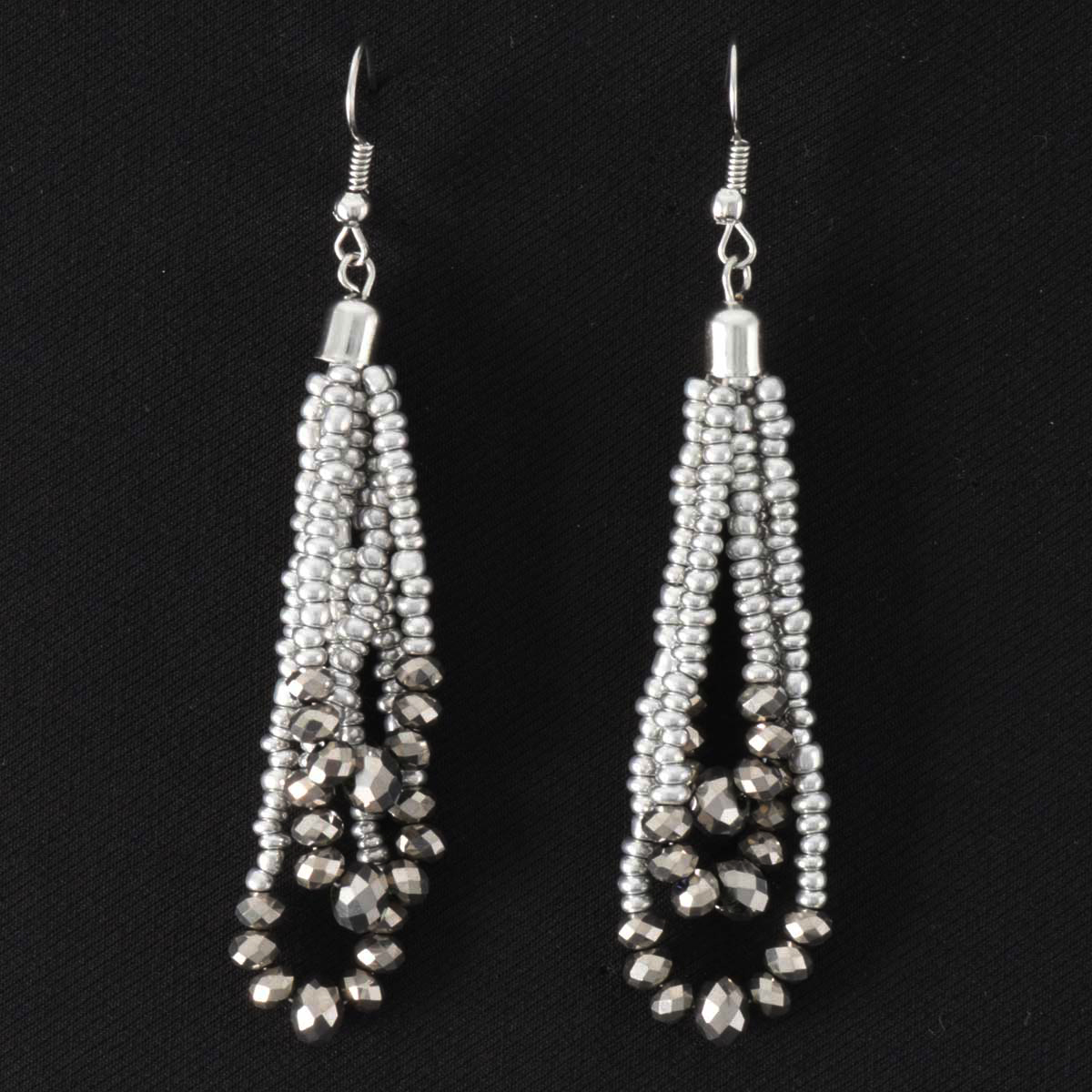 "Smoke Crystal and Bead 2.25"" French Wire Earrings"