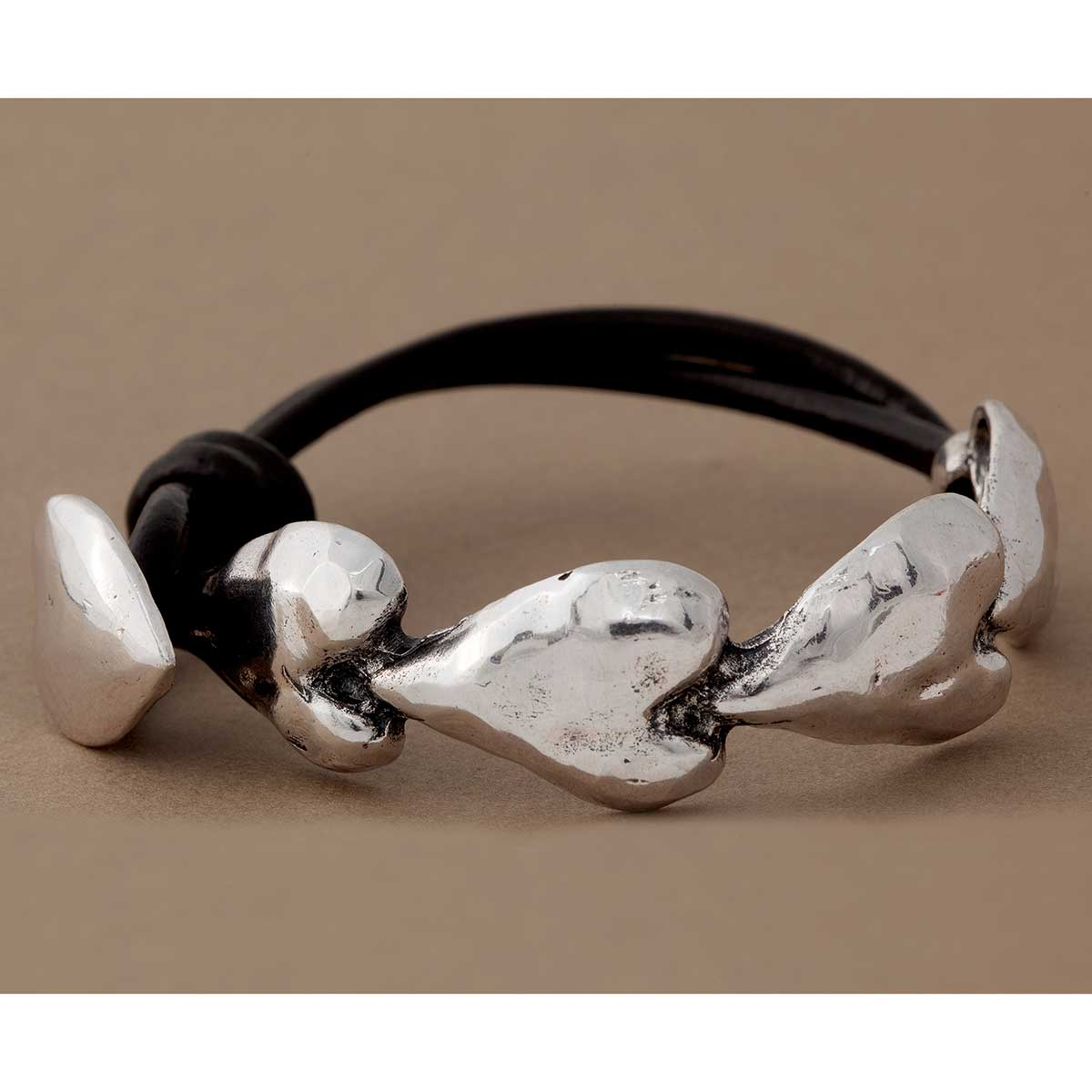 """Silver Hammered .75""""x8"""" Multi Heart with Black Cord Bracelet"""