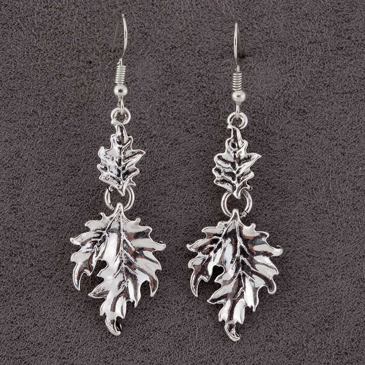 "Silver1.5x.75"" Acanthus Double Leaf on French Wire Earrings"