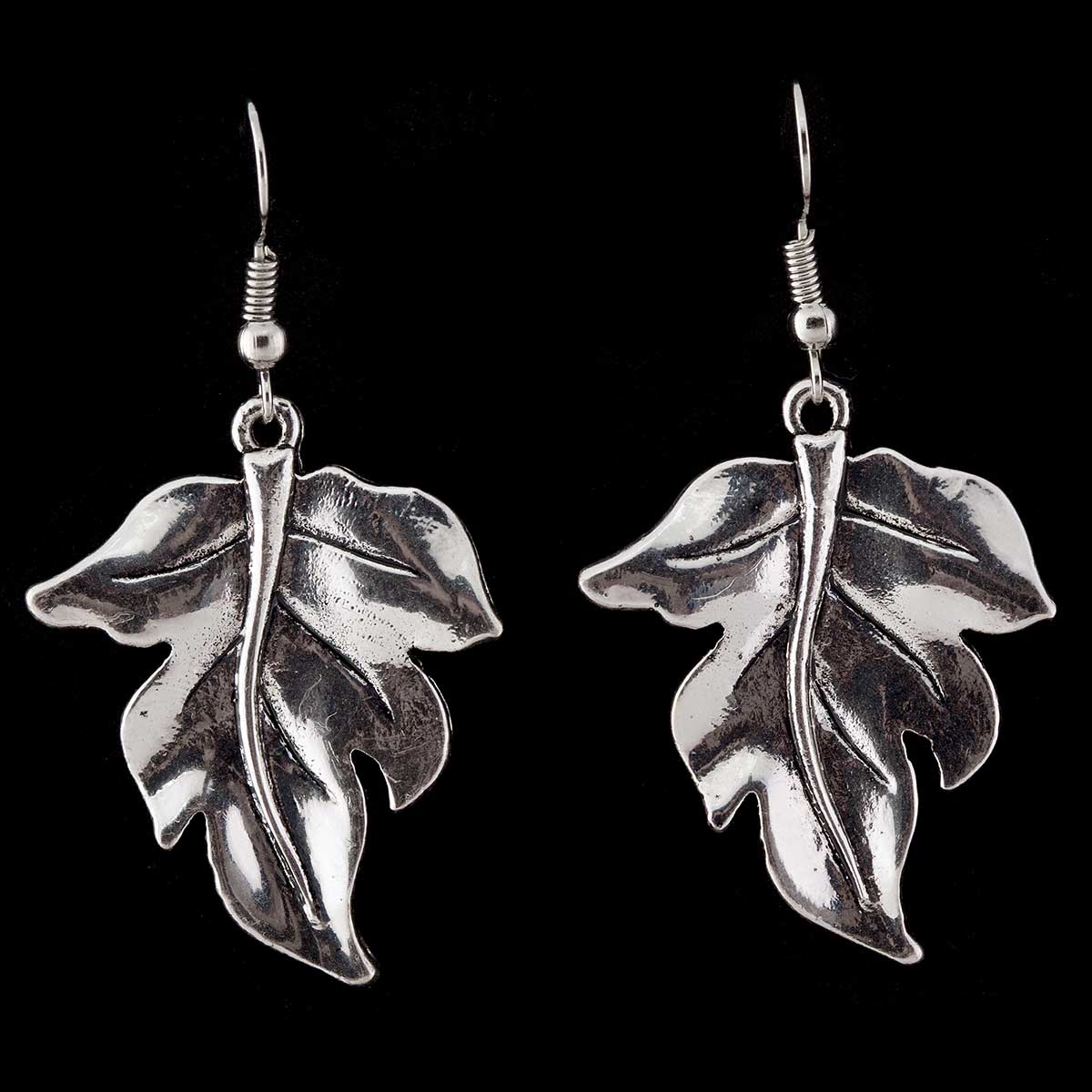 "Silver 1.25""x1"" Leaf French Wire Earrings"